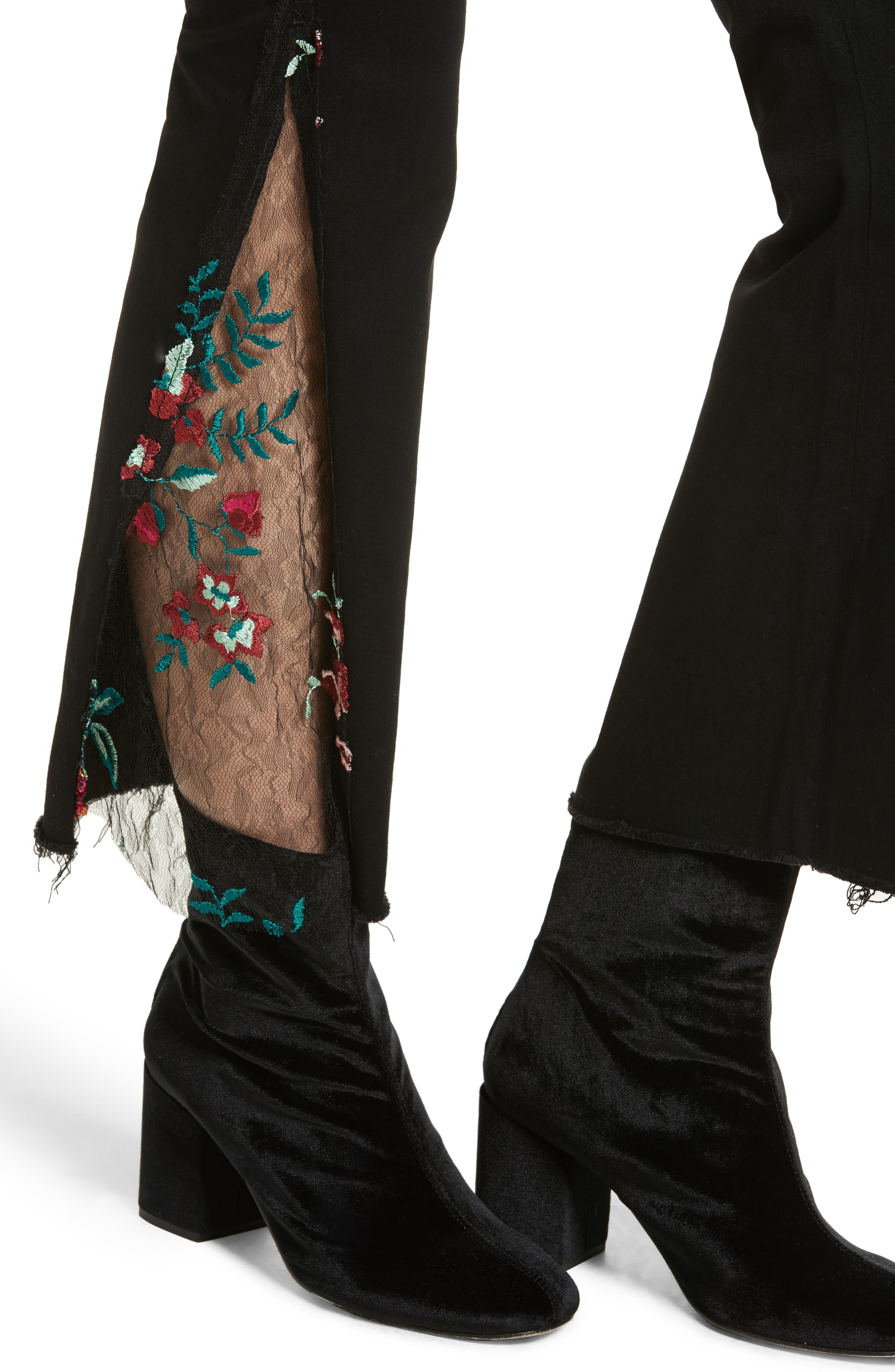 Embroidered Lace Flare Jeans,                             Alternate thumbnail 4, color,                             Black