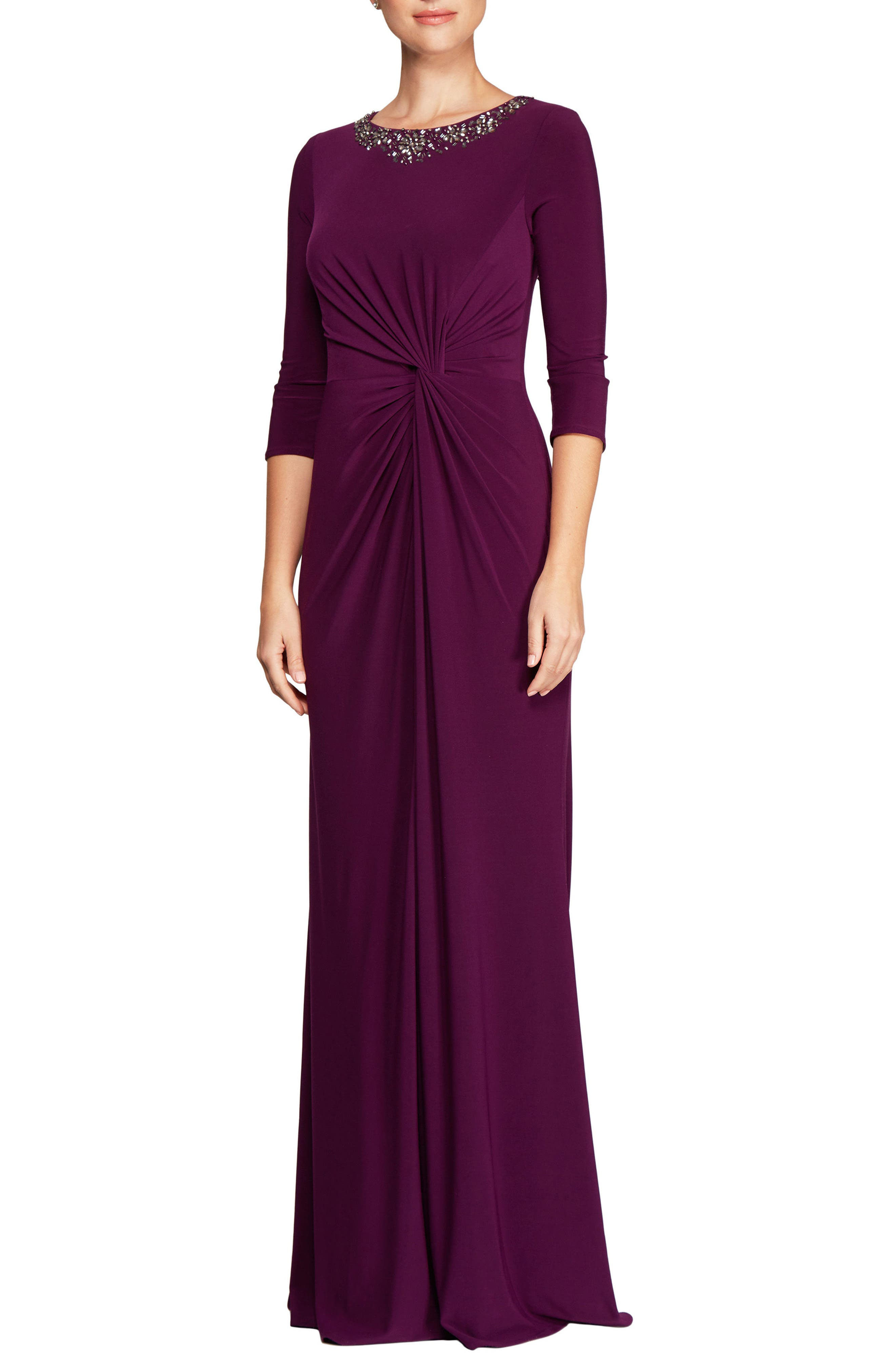 Knotted A-Line Gown,                         Main,                         color, Passion