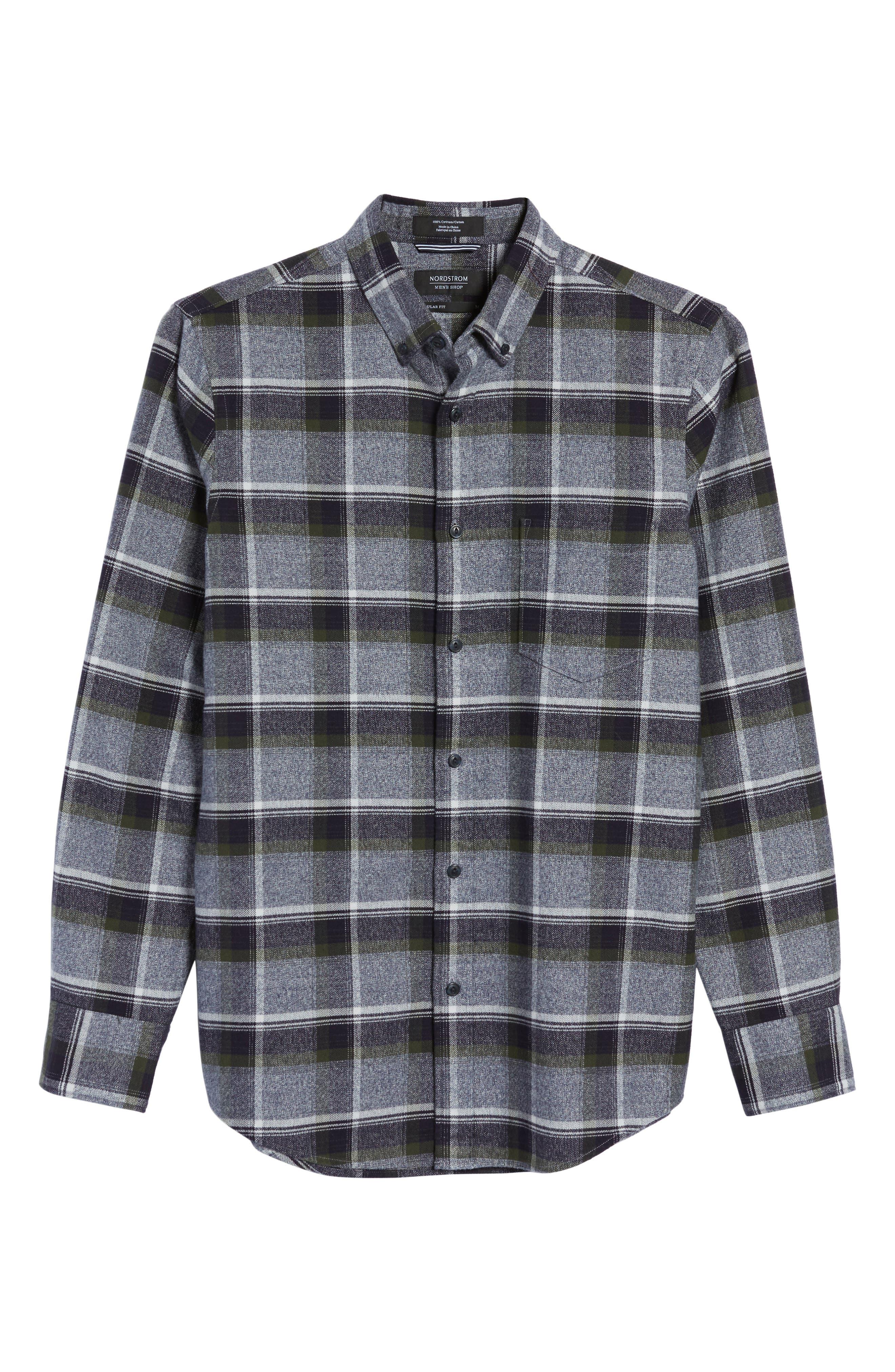 Alternate Image 6  - Nordstrom Men's Shop Regular Fit Plaid Flannel Shirt