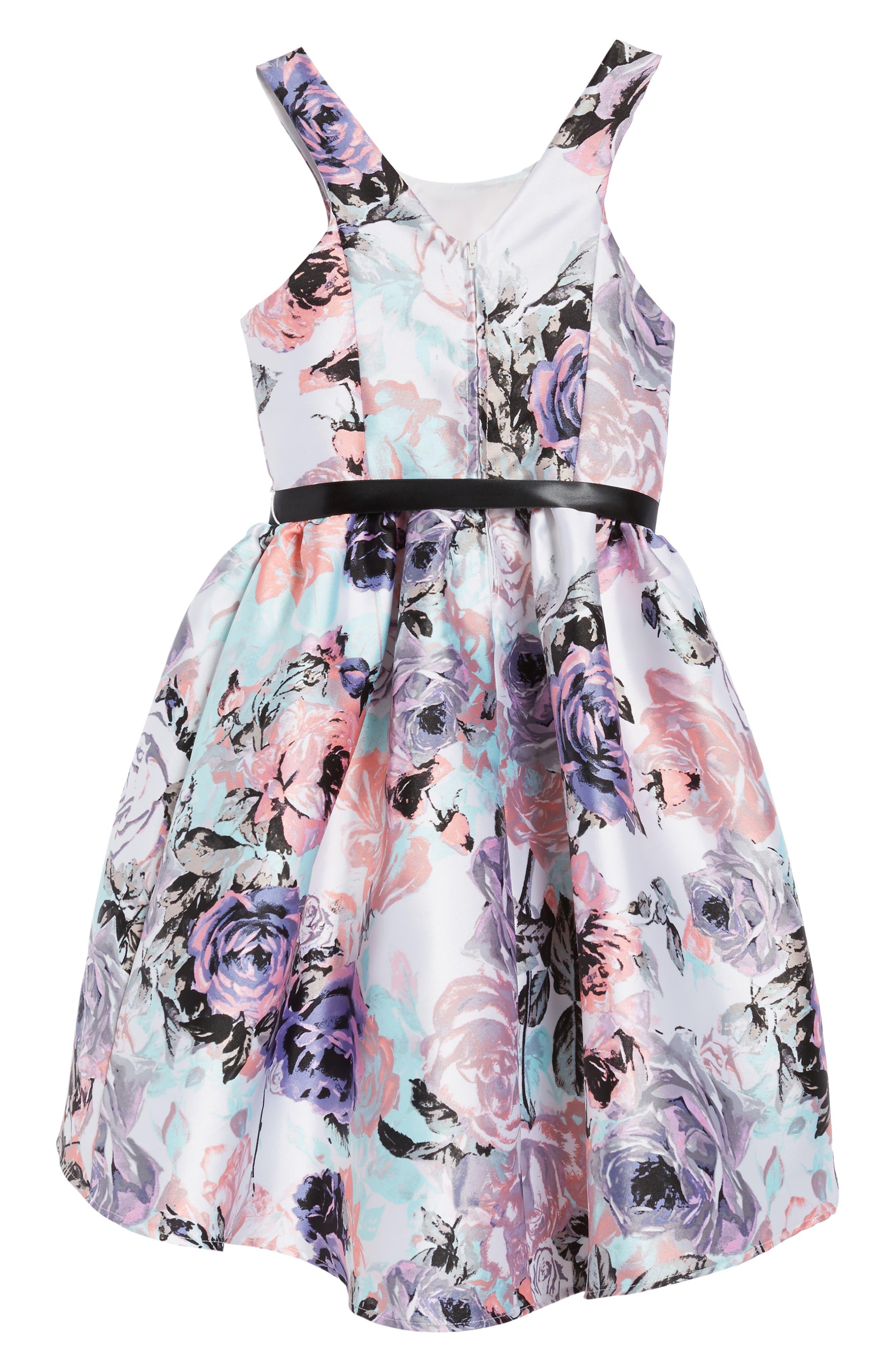 Floral Print Party Dress,                             Alternate thumbnail 3, color,                             Lilac/ Blush