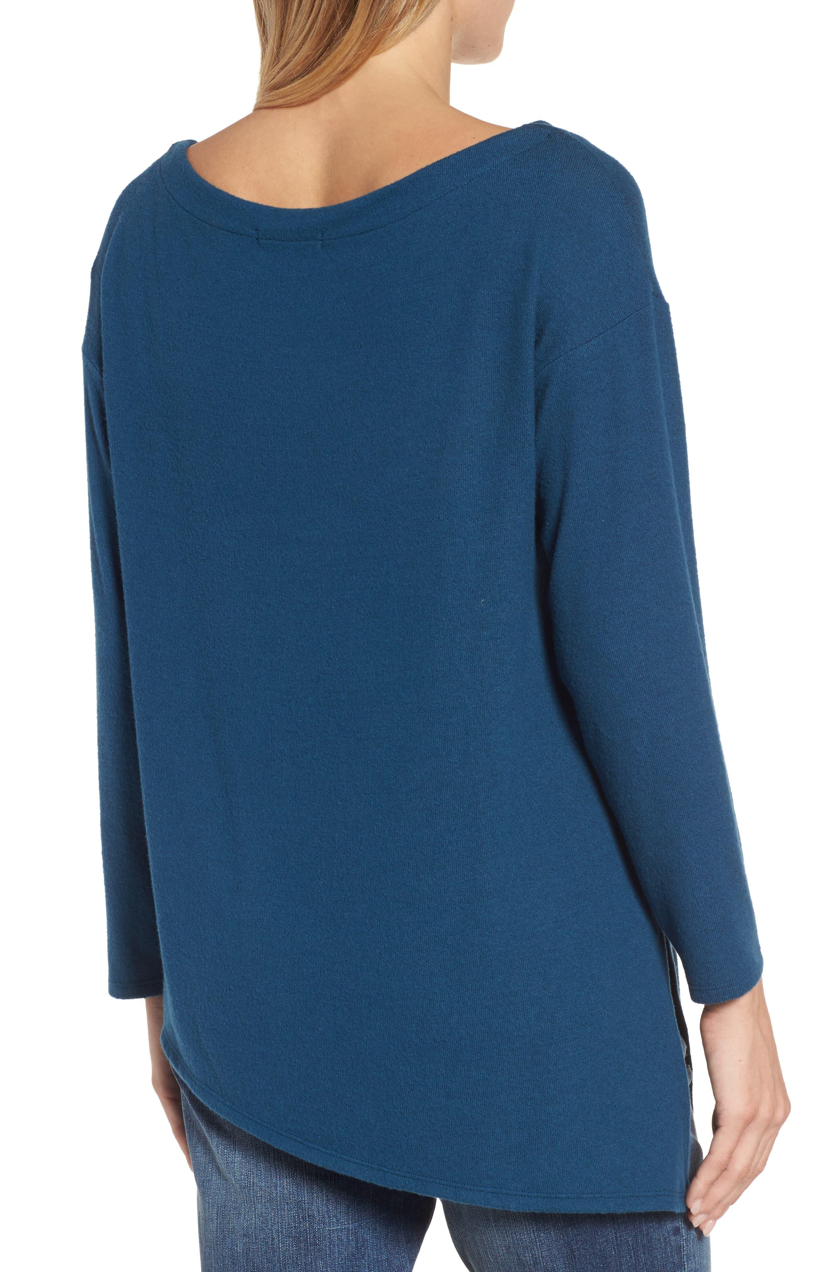 Asymmetrical Cozy Fleece Convertible Top,                             Alternate thumbnail 2, color,                             Blue Ceramic