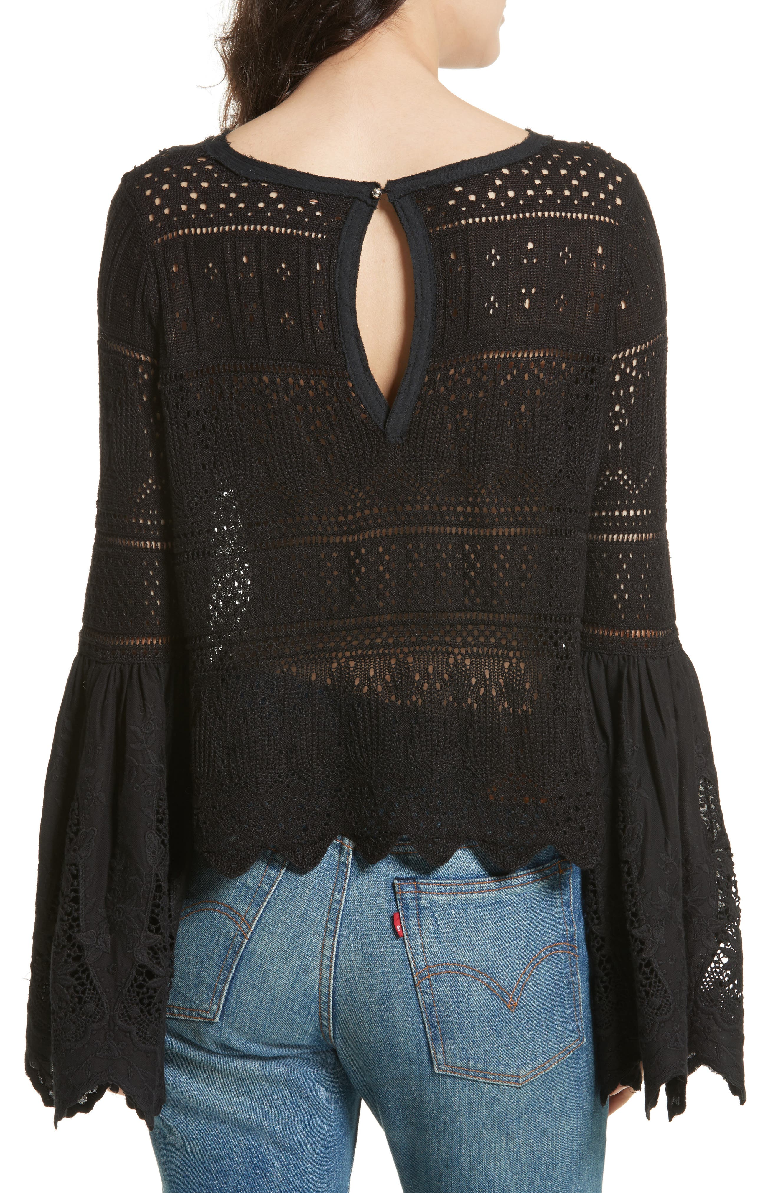 Once Upon a Time Lace Top,                             Alternate thumbnail 2, color,                             Black