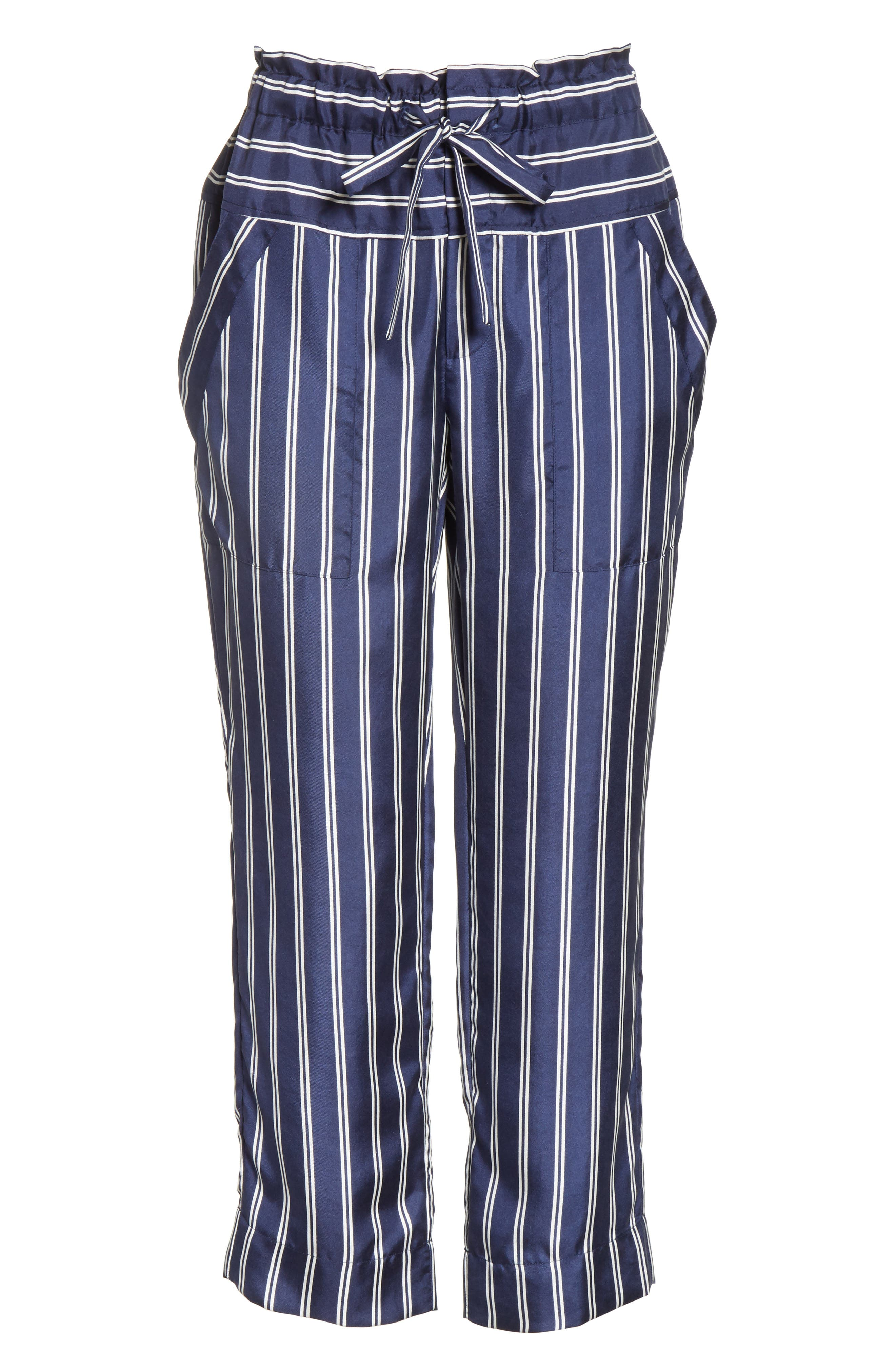 Addiena Stripe Silk Pants,                             Alternate thumbnail 6, color,                             Dark Navy