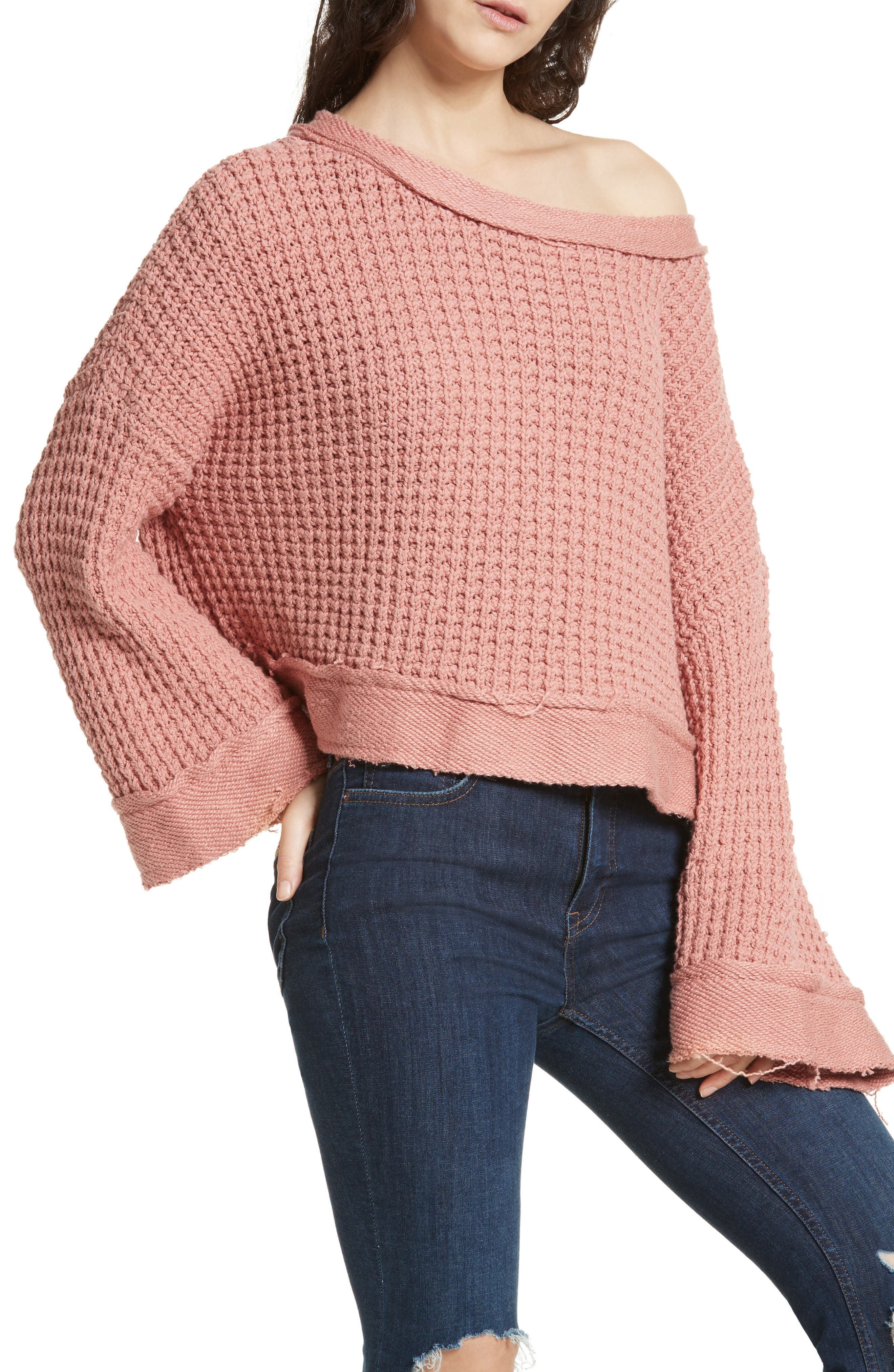 Maybe Baby Bell Sleeve Sweater,                             Alternate thumbnail 3, color,                             Rose