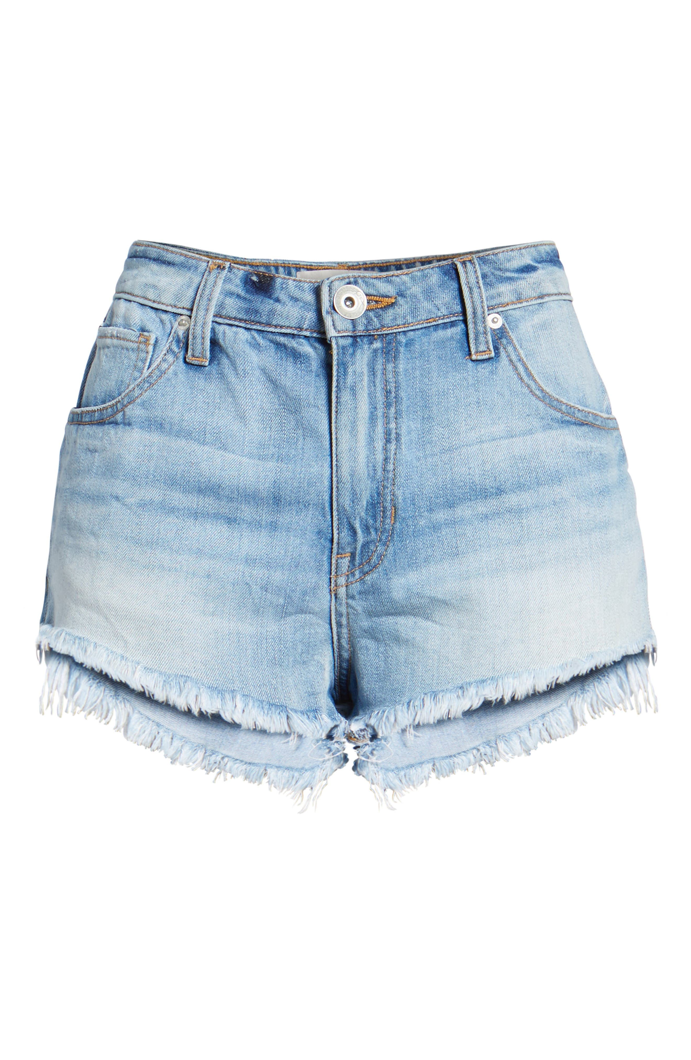 Riley Cheeky Denim Shorts,                             Alternate thumbnail 6, color,                             Blue Fest