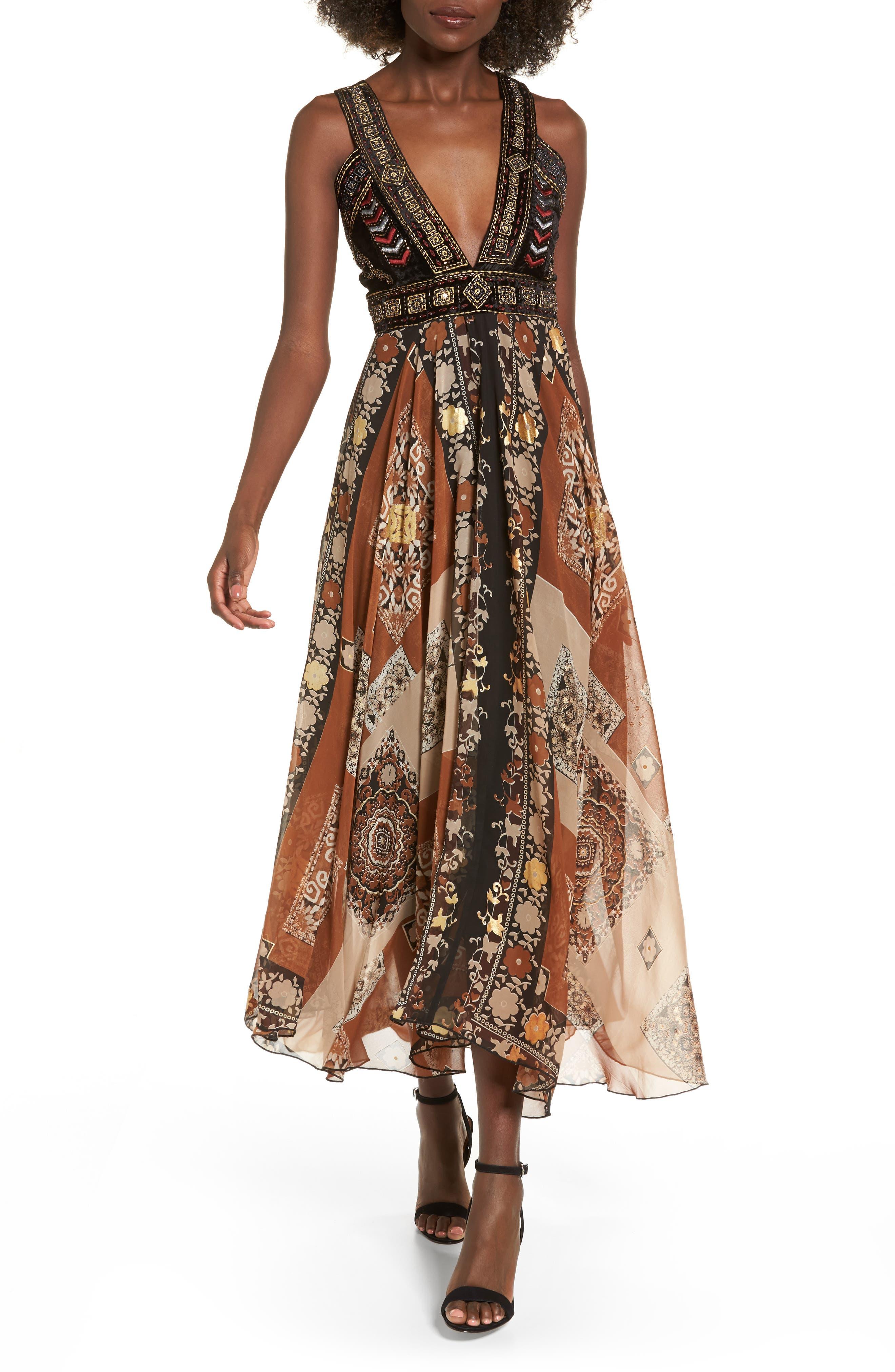 Sonder Embroidered Maxi Dress,                             Main thumbnail 1, color,                             Brown