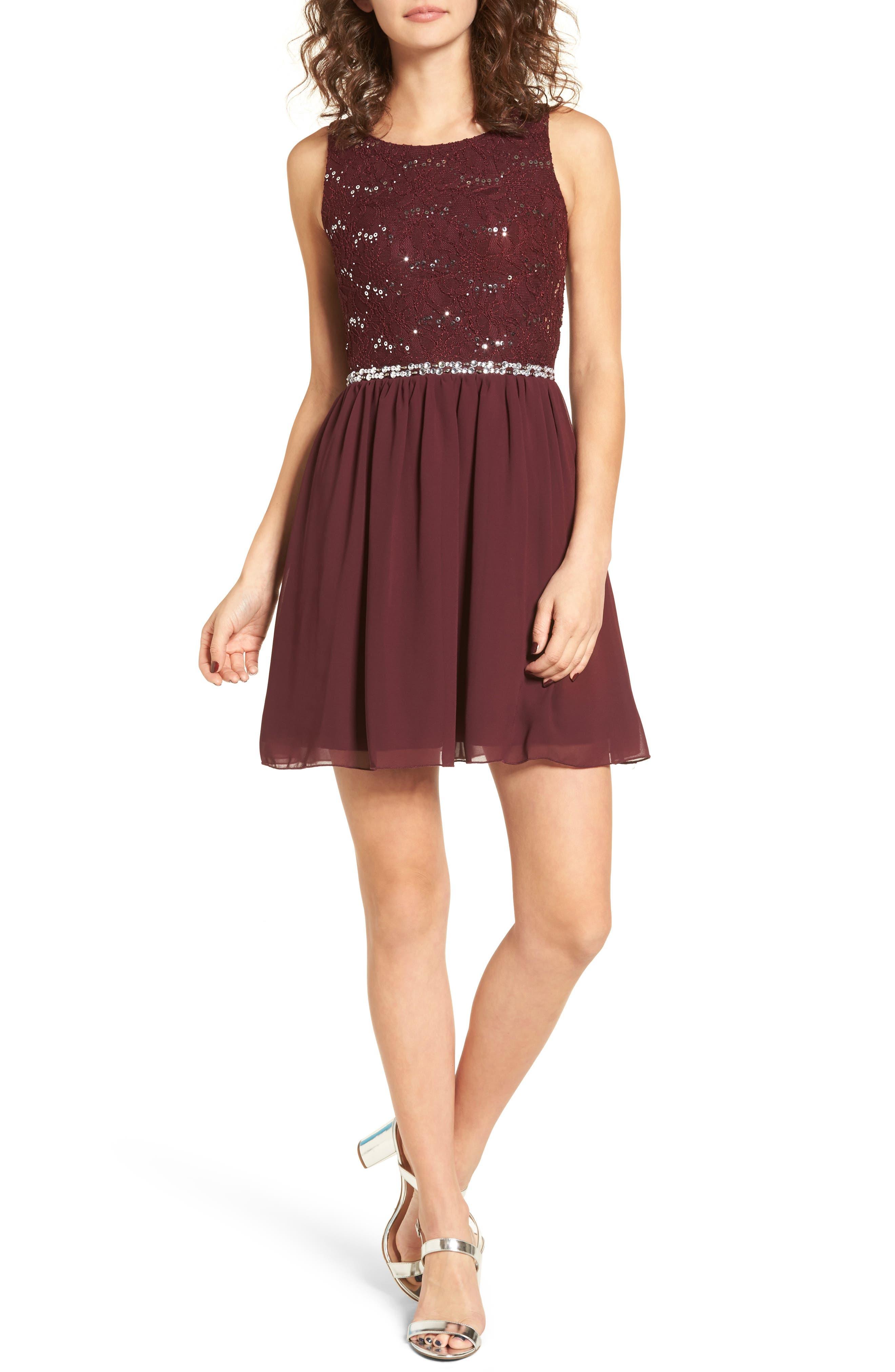 Alternate Image 1 Selected - Speechless Jeweled Belt Dress