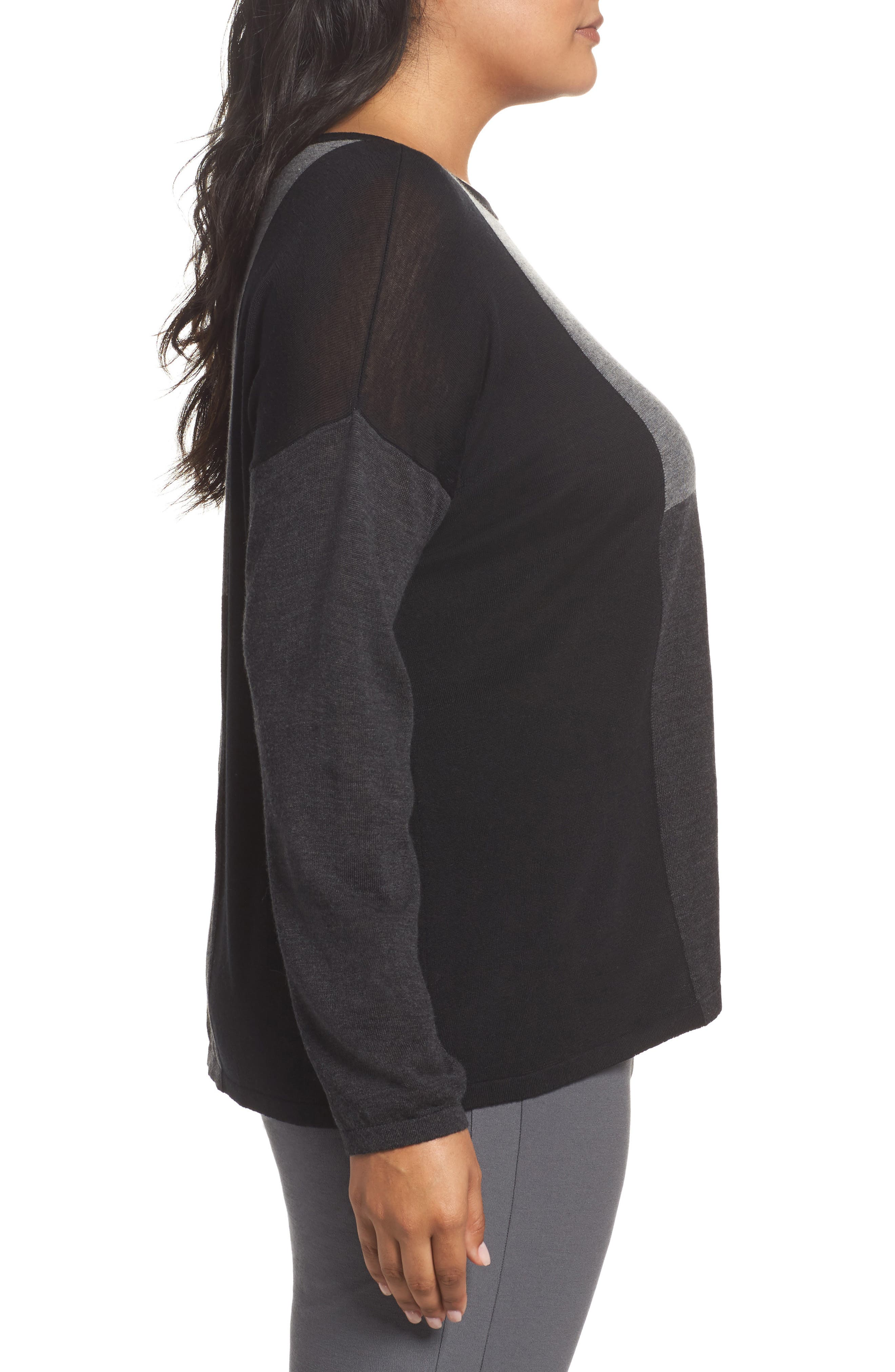 Colorblock Boxy Merino Wool Sweater,                             Alternate thumbnail 3, color,                             Charcoal
