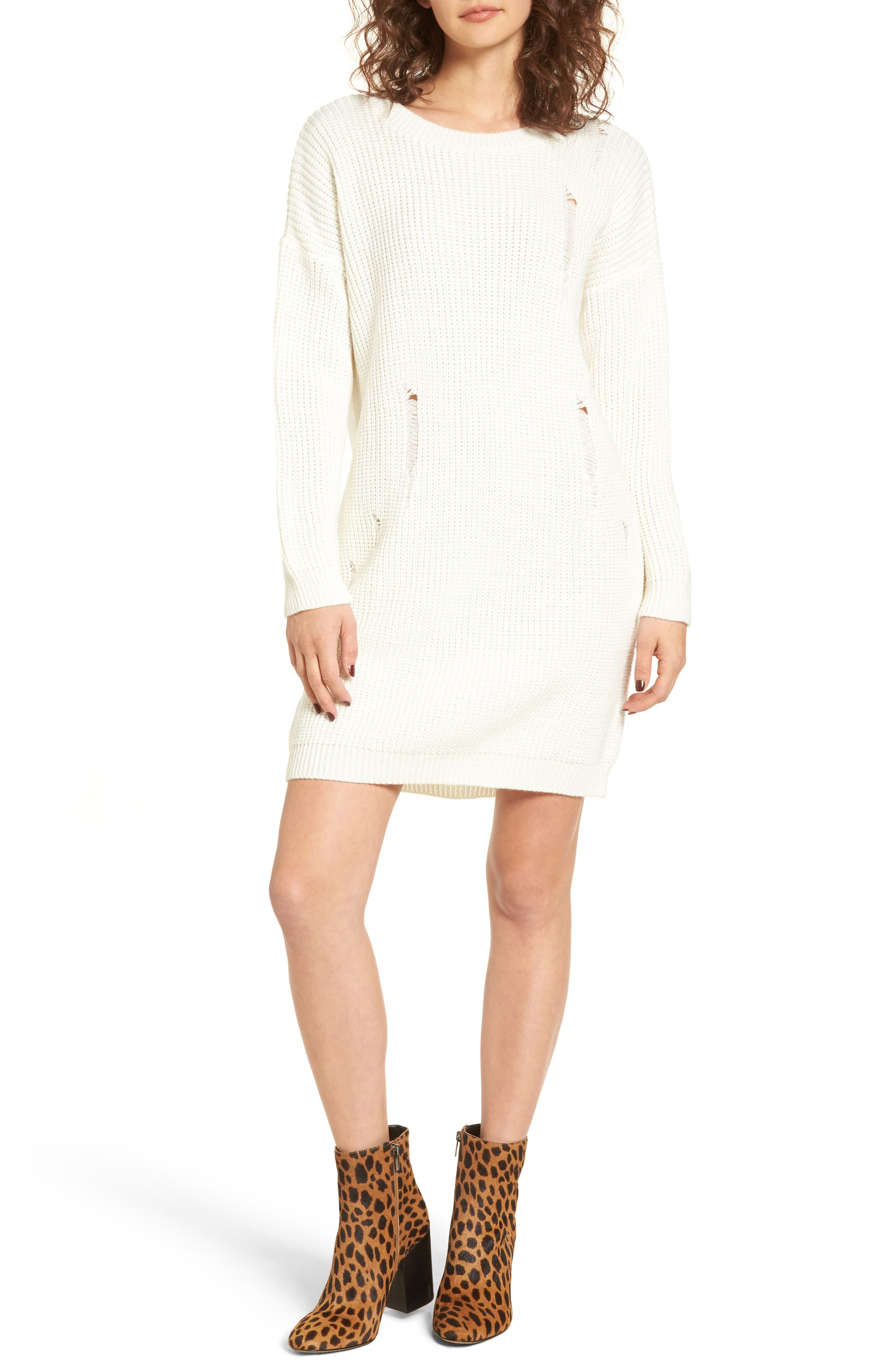Alternate Image 1 Selected - Cotton Emporium Distressed Sweater Dress