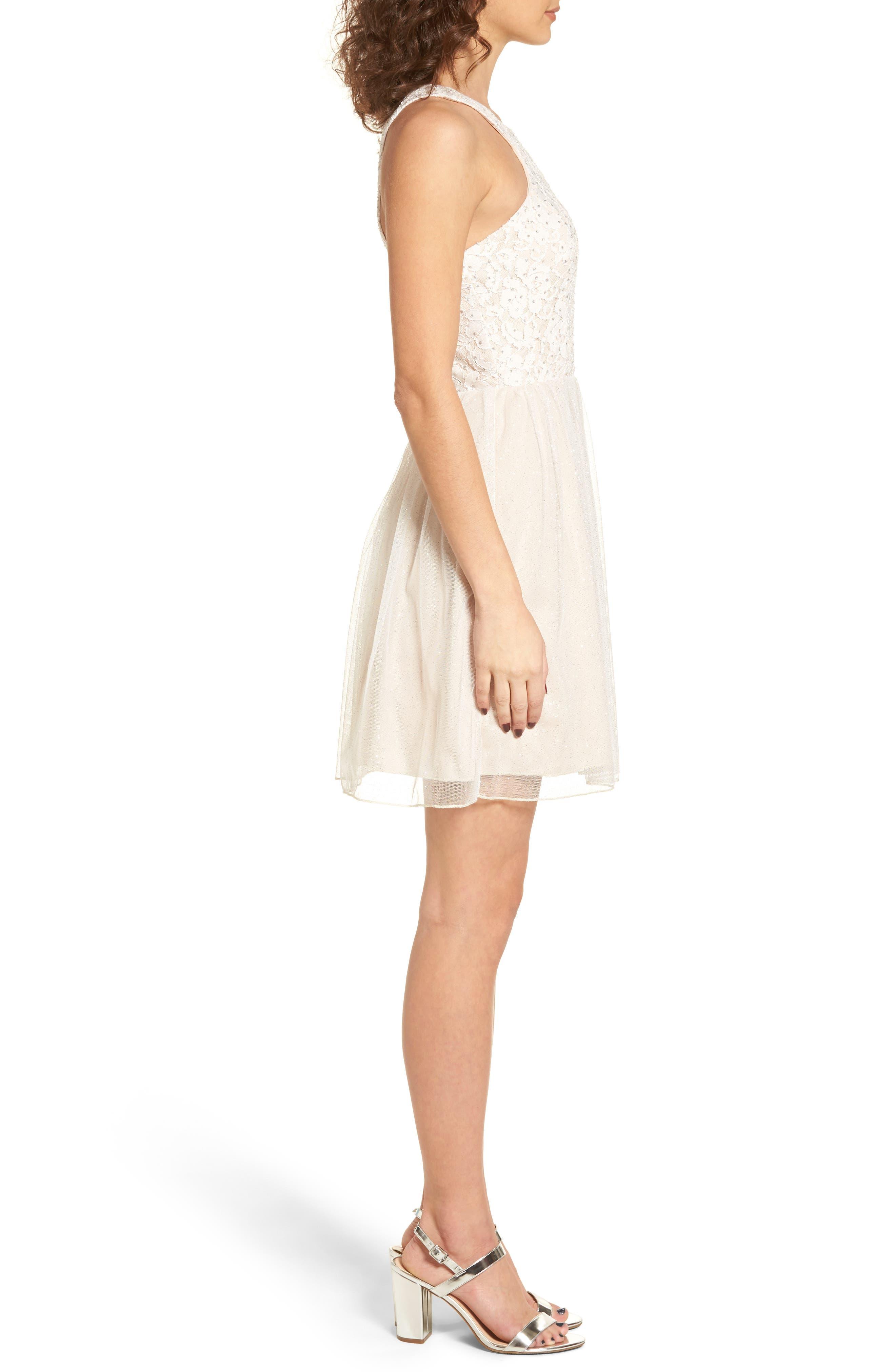 Glitter Tulle Dress,                             Alternate thumbnail 3, color,                             Blush