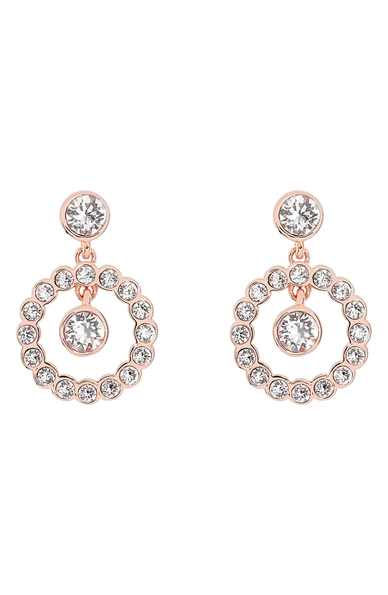 Concentric Crystal Drop Earrings,                             Main thumbnail 1, color,                             Rose Gold