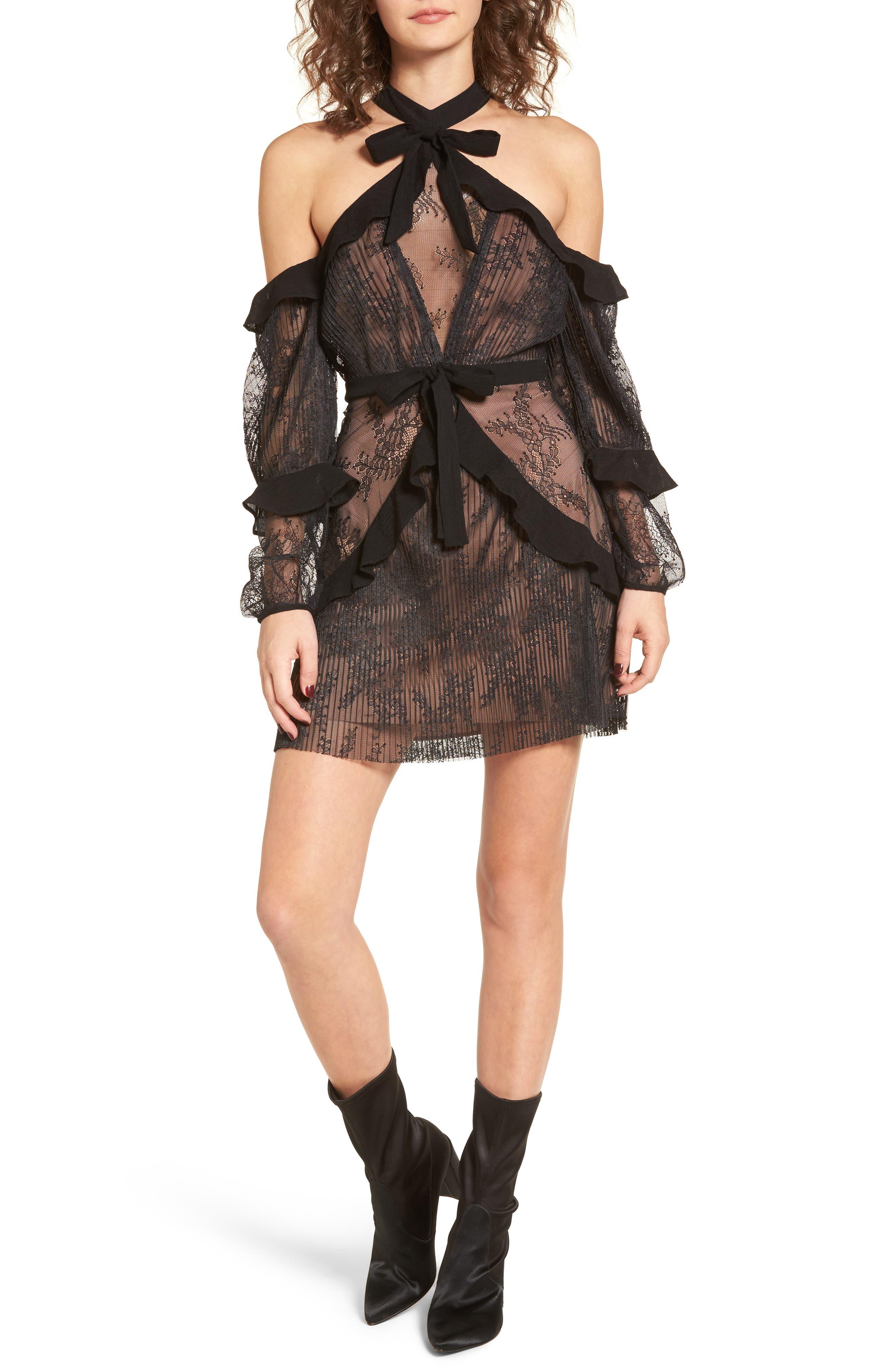 Margo Cold Shoulder Minidress,                             Main thumbnail 1, color,                             Black