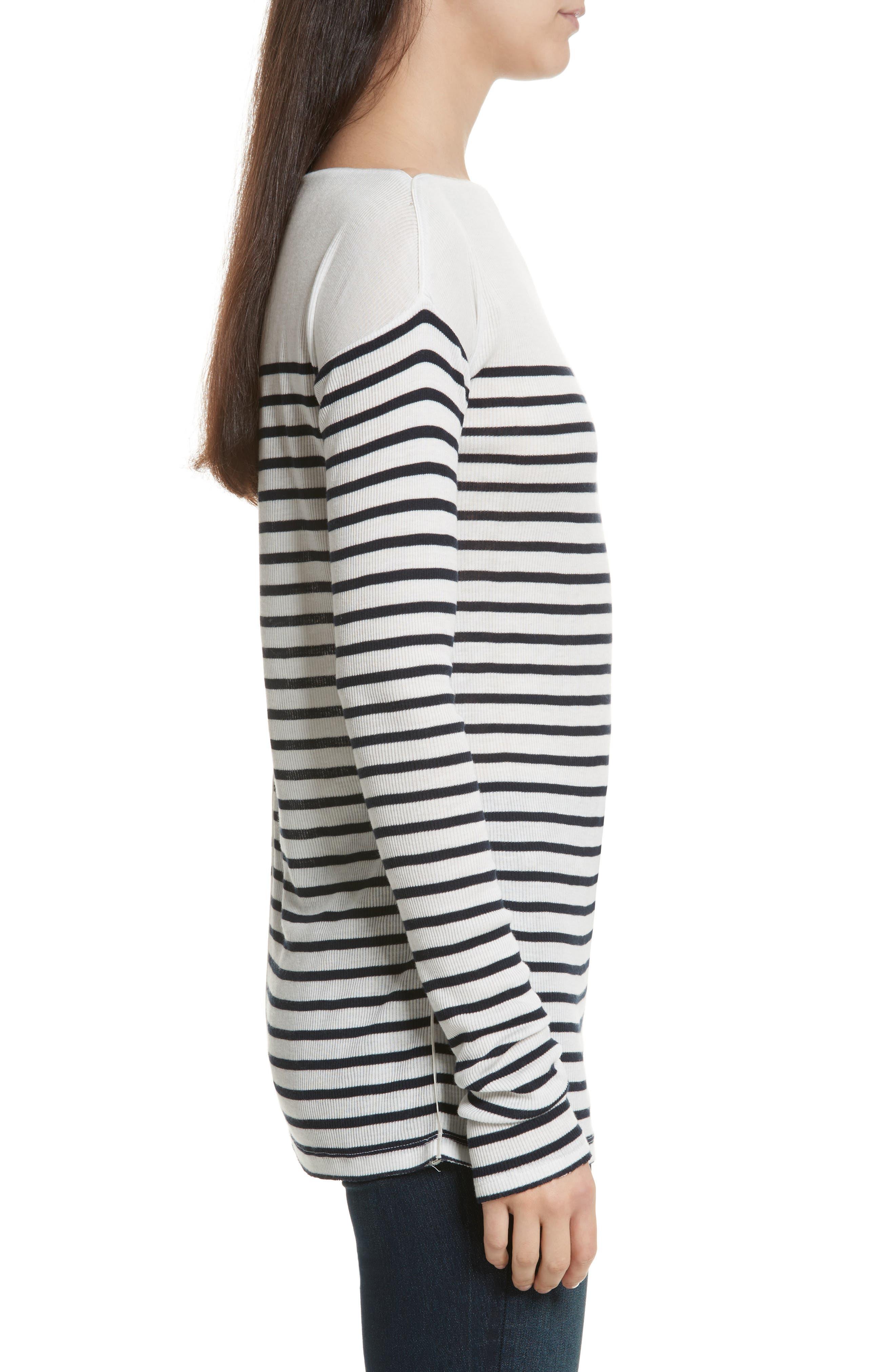Madison Stripe Long Sleeve Top,                             Alternate thumbnail 3, color,                             Ivory/ Navy