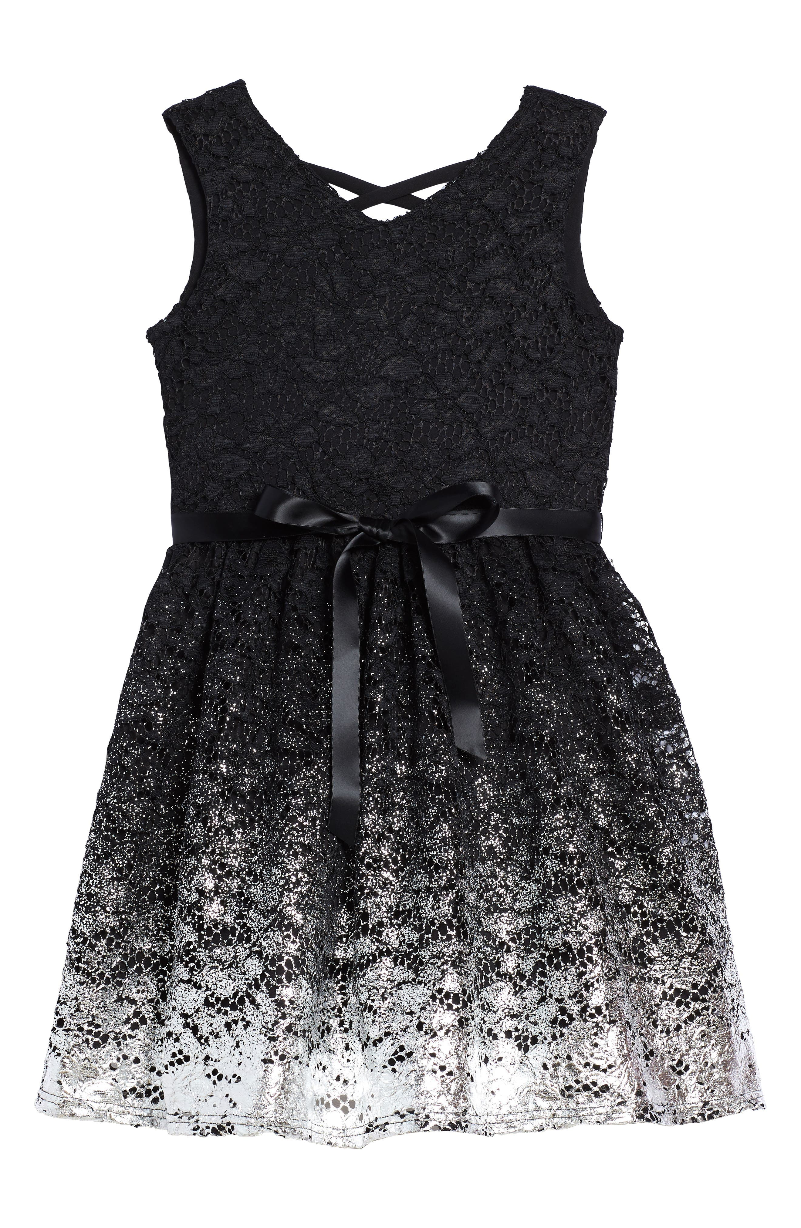 Sleeveless Lace Dress,                         Main,                         color, Black