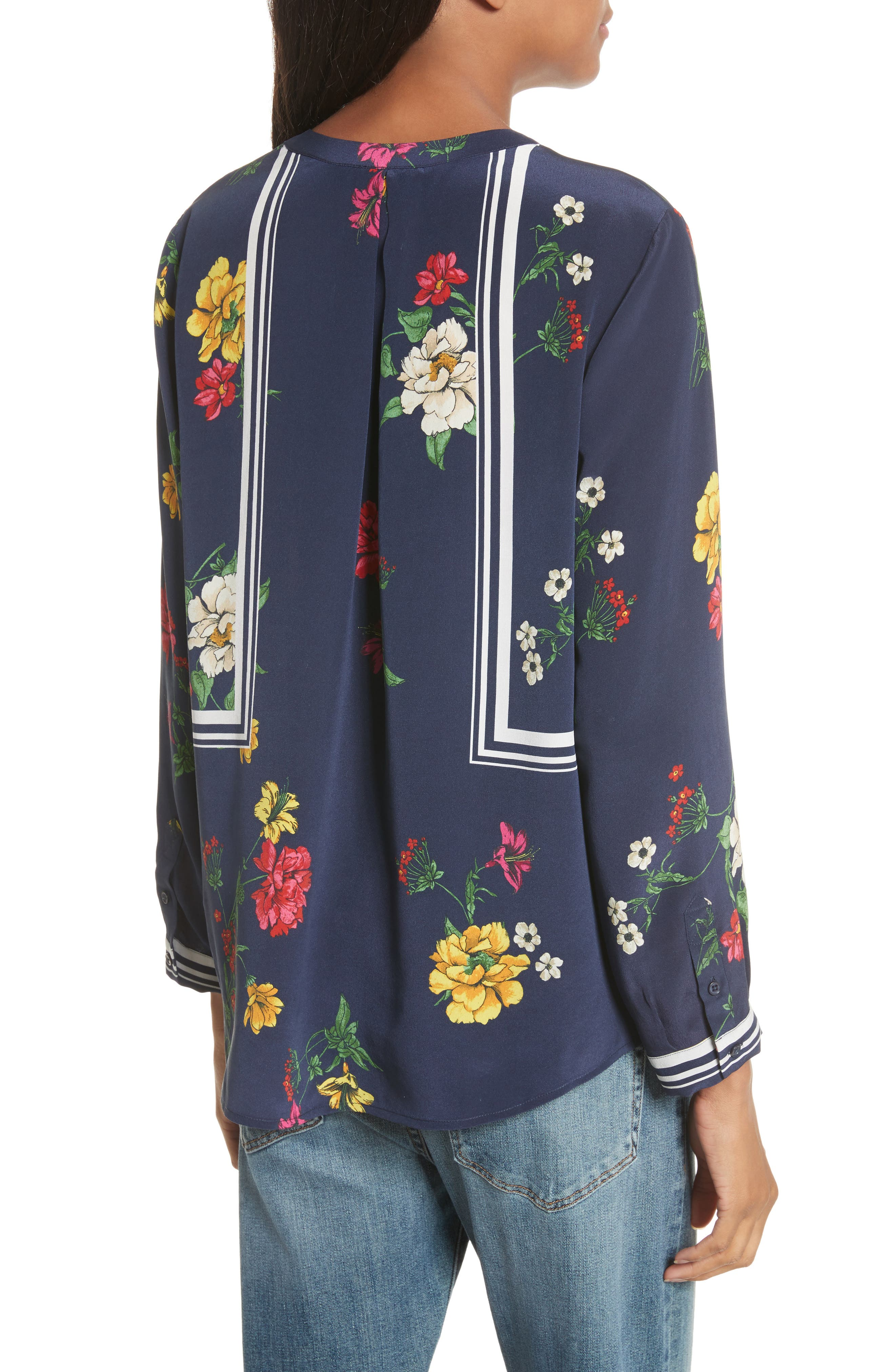 Aisa B Silk Top,                             Alternate thumbnail 2, color,                             Dark Navy