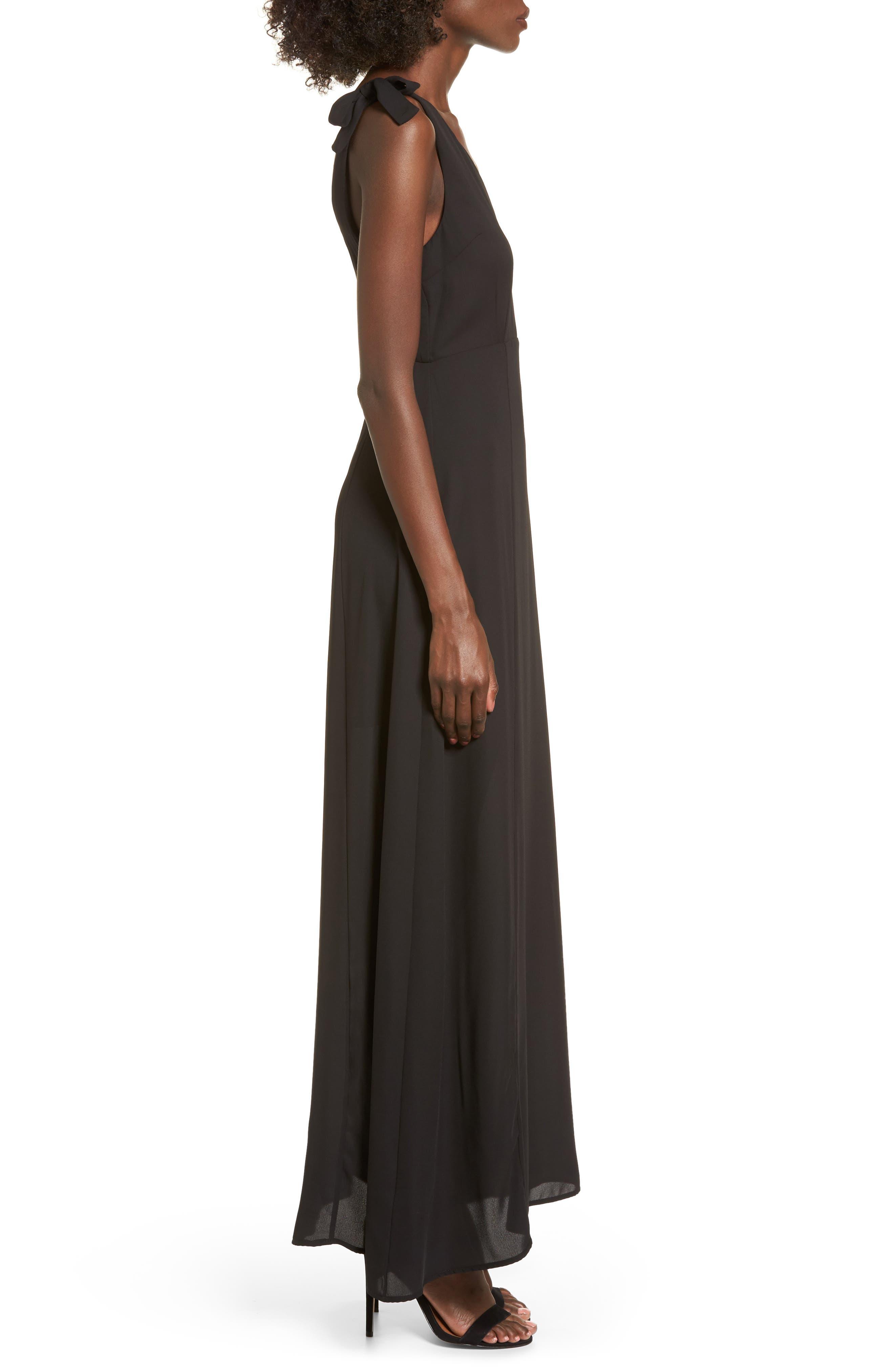 Tie Strap Maxi Dress,                             Alternate thumbnail 3, color,                             Black