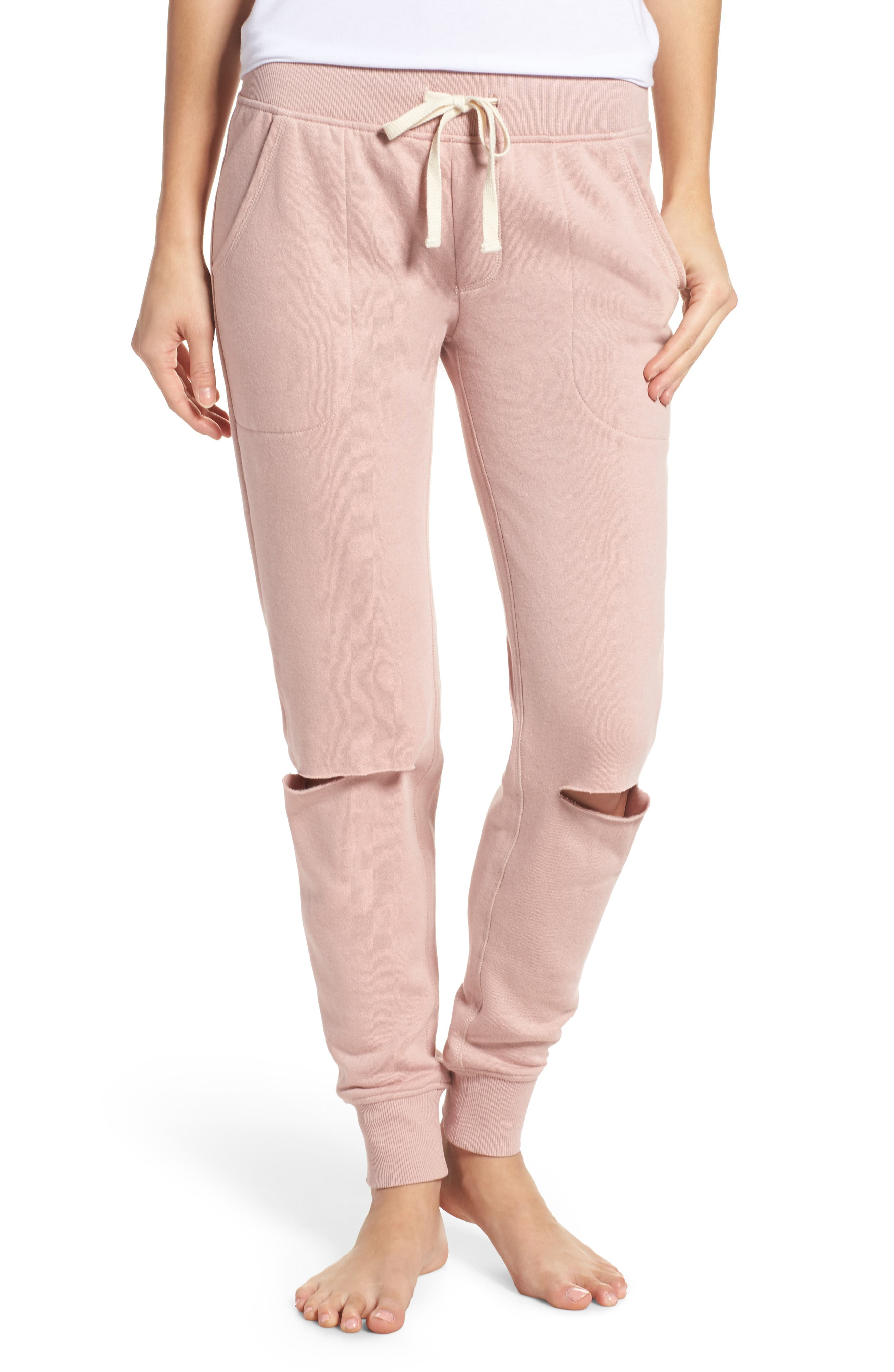 Slashed Lounge Jogger Pants,                         Main,                         color, Rose Quartz