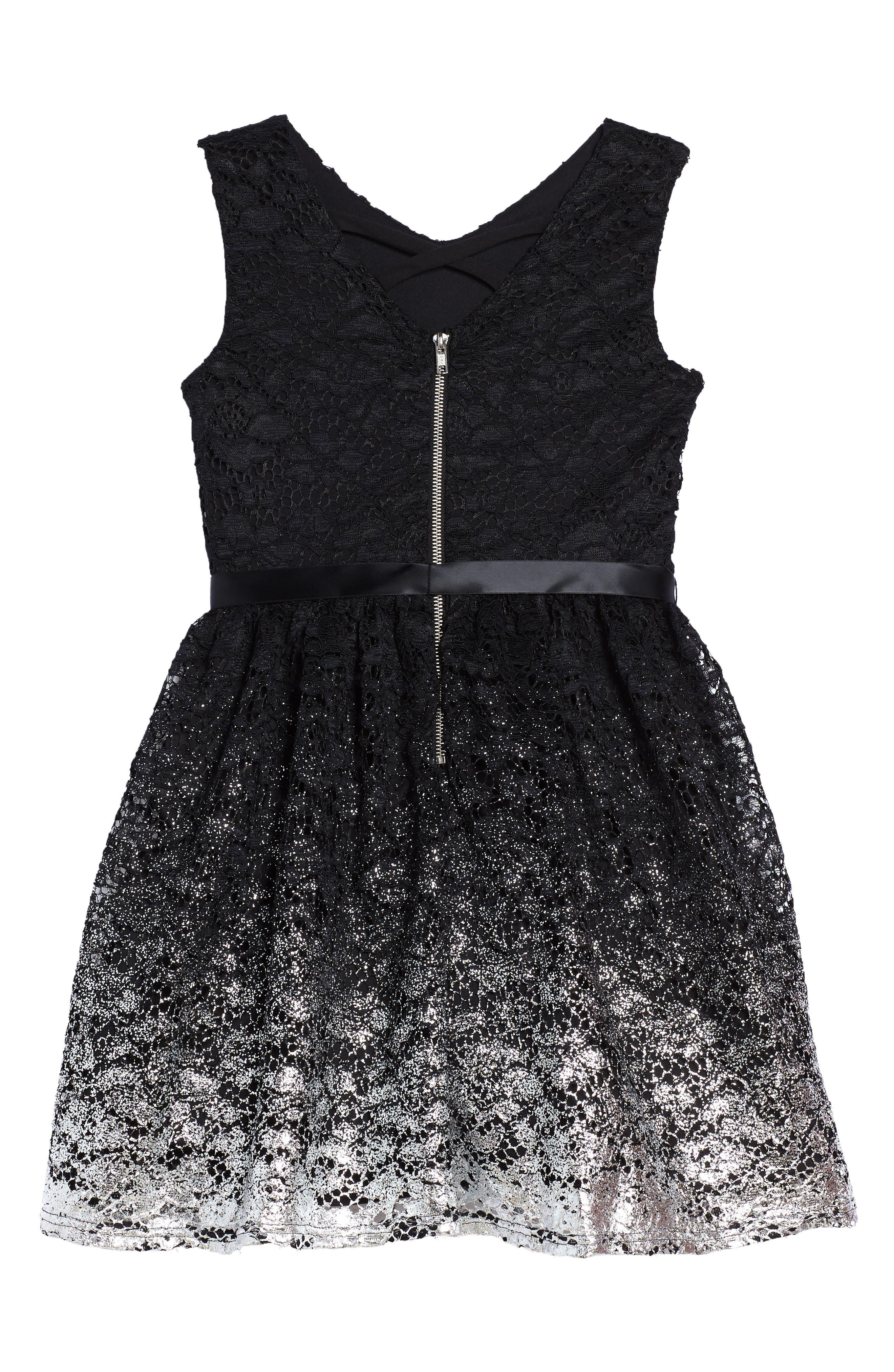 Sleeveless Lace Dress,                             Alternate thumbnail 2, color,                             Black