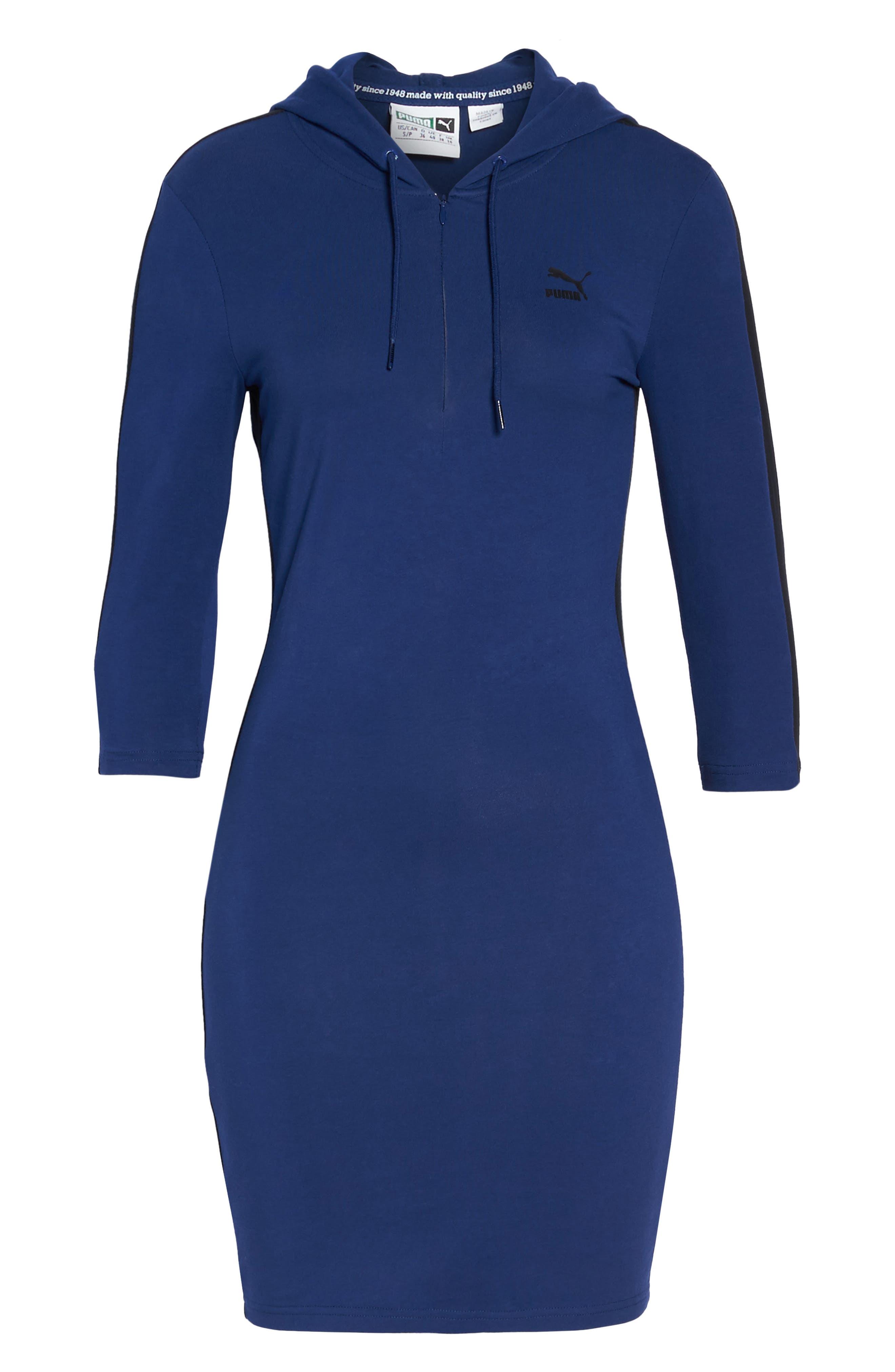 T7 Sweatshirt Dress,                             Alternate thumbnail 7, color,                             Blue Depths
