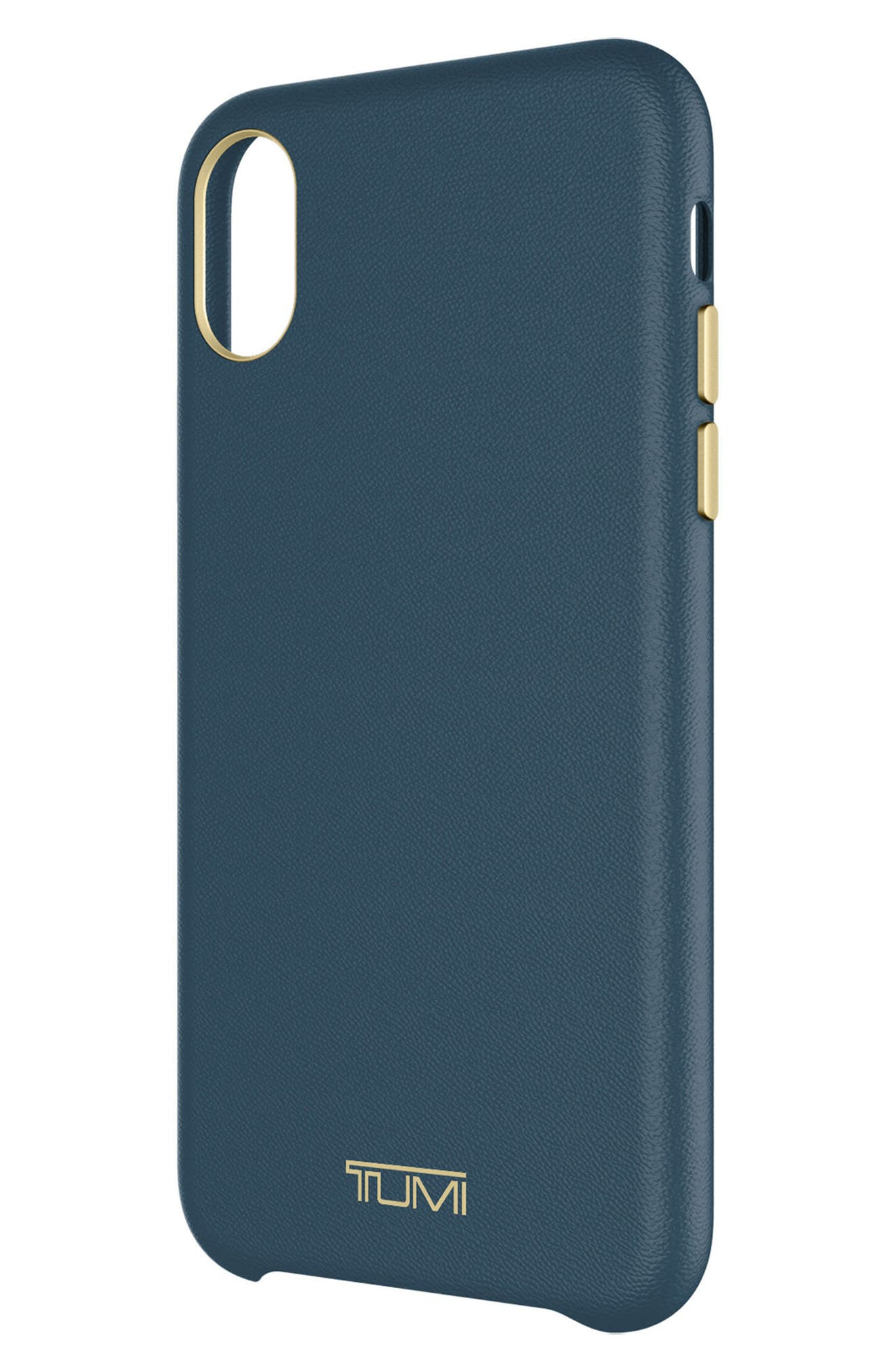 Leather iPhone X Case,                             Alternate thumbnail 5, color,                             Navy