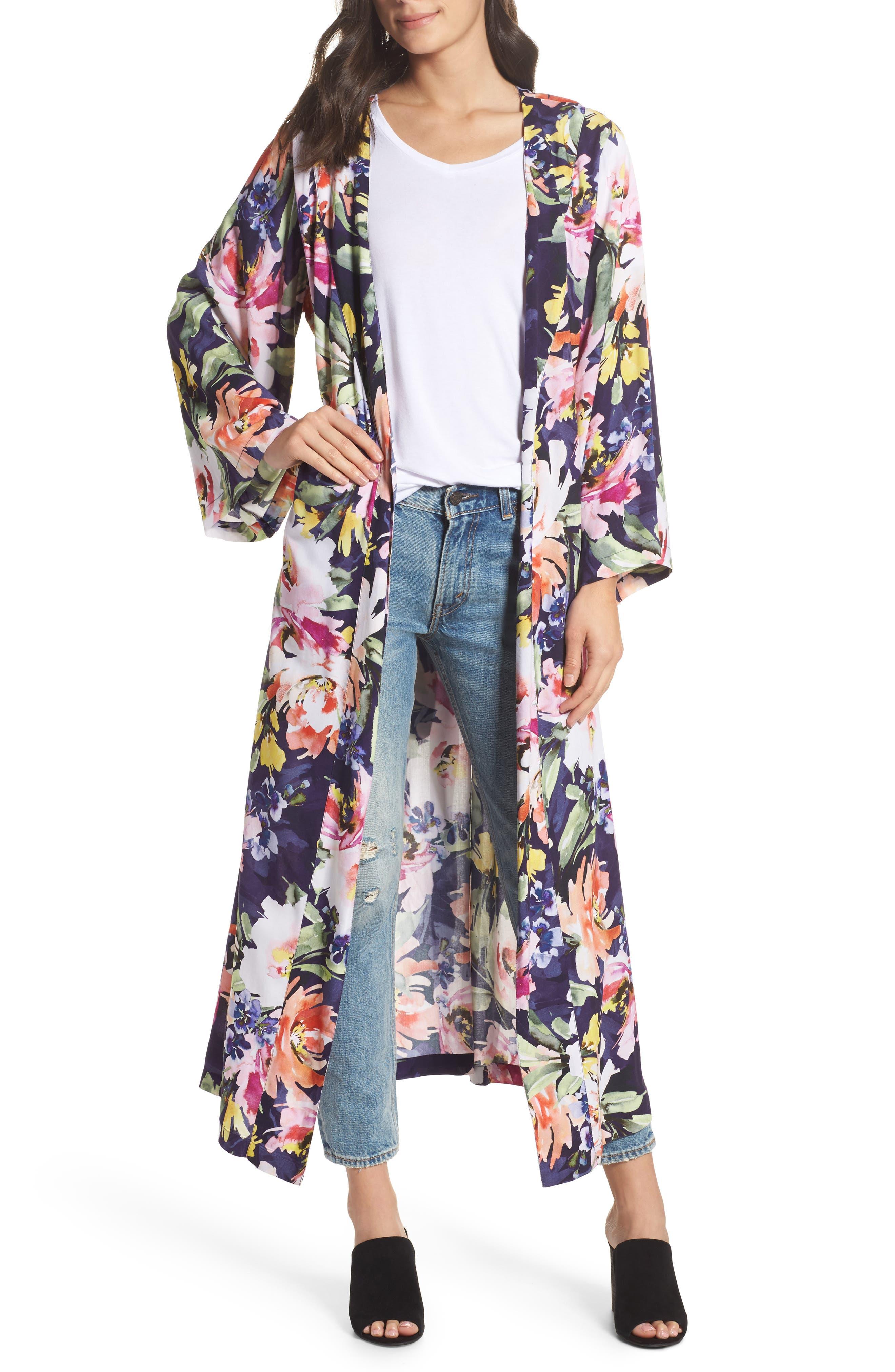 Long Floral Kimono Robe,                             Alternate thumbnail 6, color,                             Zephyr