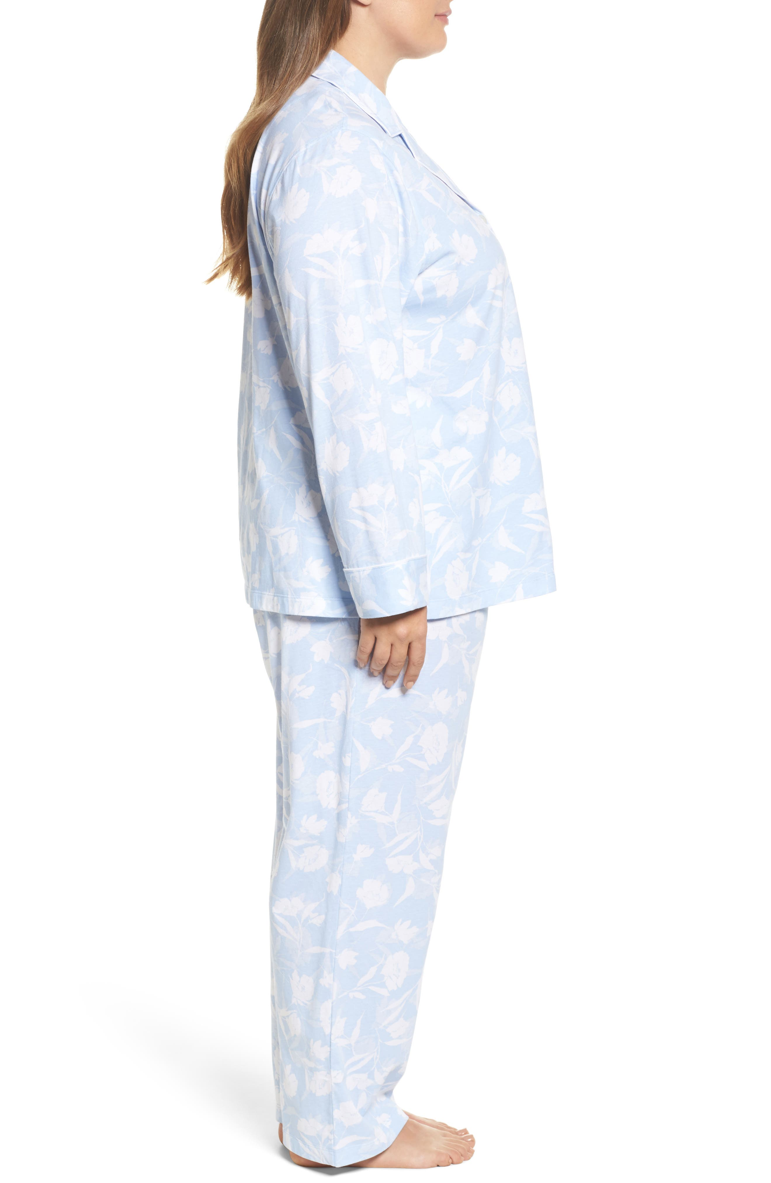 Floral Print Jersey Pajamas,                             Alternate thumbnail 3, color,                             Blue Monotone Floral
