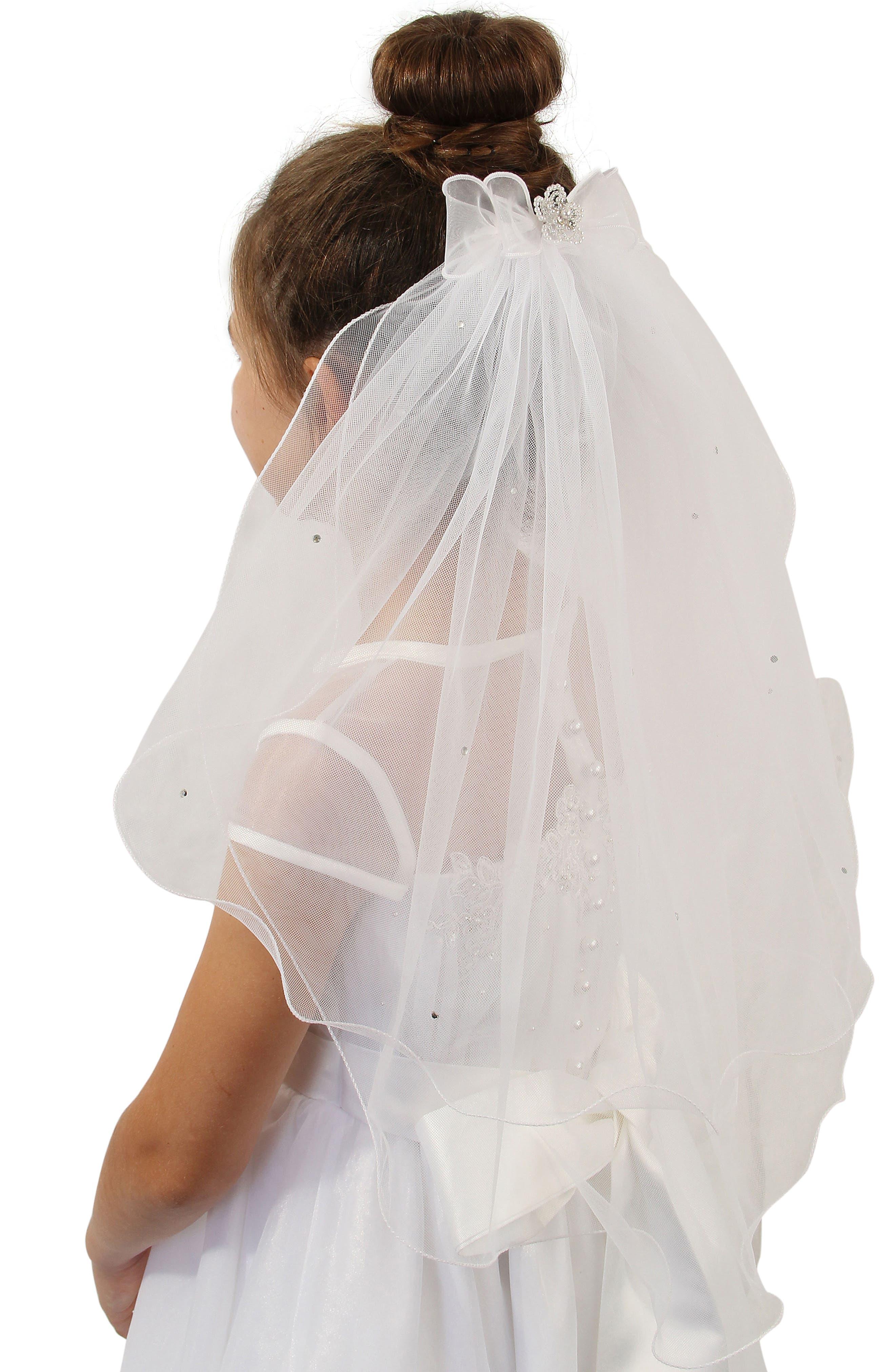 Alternate Image 2  - Lauren Marie Beaded Bow & Veil (Big Girls)