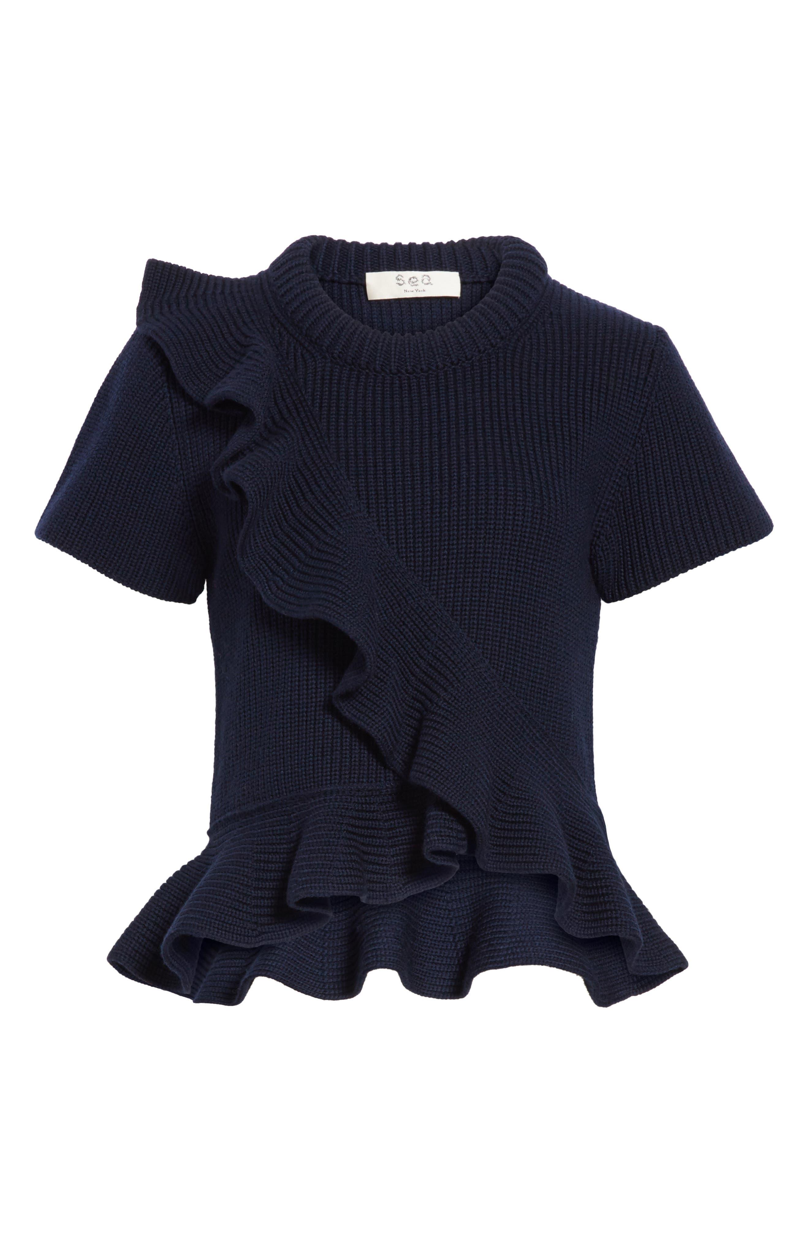 Ruffle Wool Sweater,                             Alternate thumbnail 6, color,                             Navy