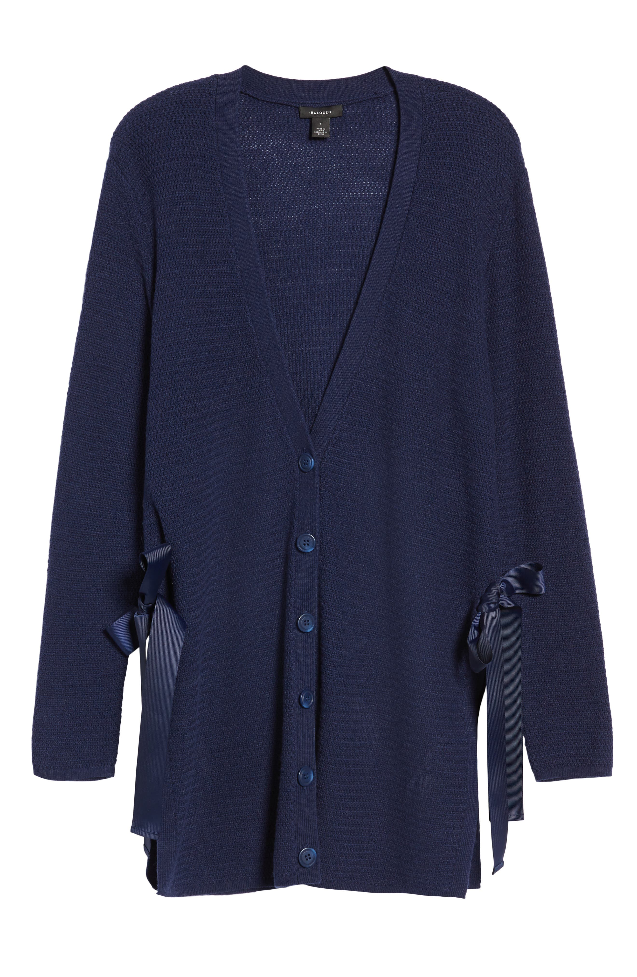 Side Tie Cardigan,                             Alternate thumbnail 6, color,                             Navy Peacoat
