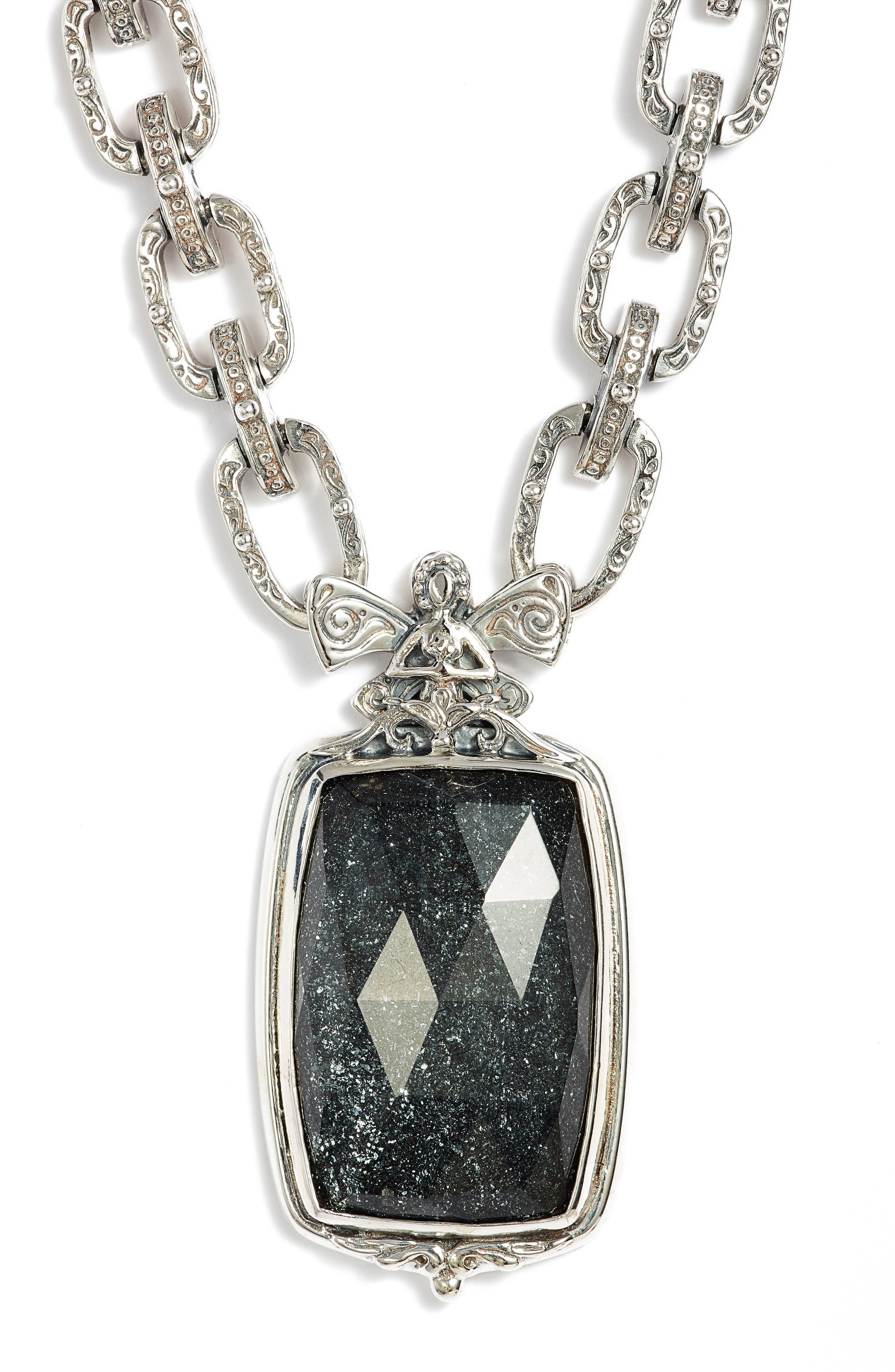 Santorini Hematite Pendant Necklace,                             Main thumbnail 1, color,                             Silver/ Hematite