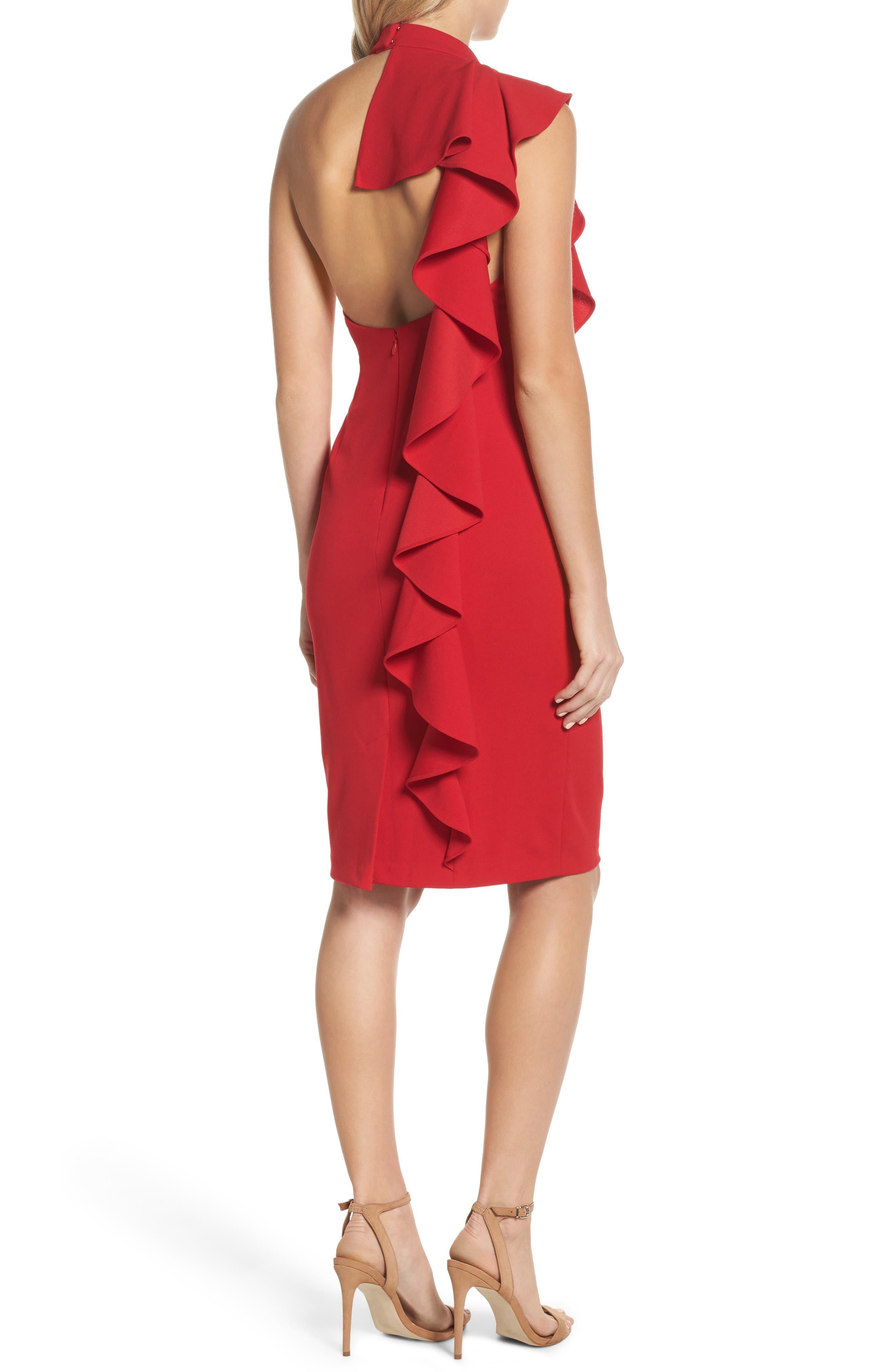 Ruffle Crepe Halter Dress,                             Alternate thumbnail 2, color,                             Red