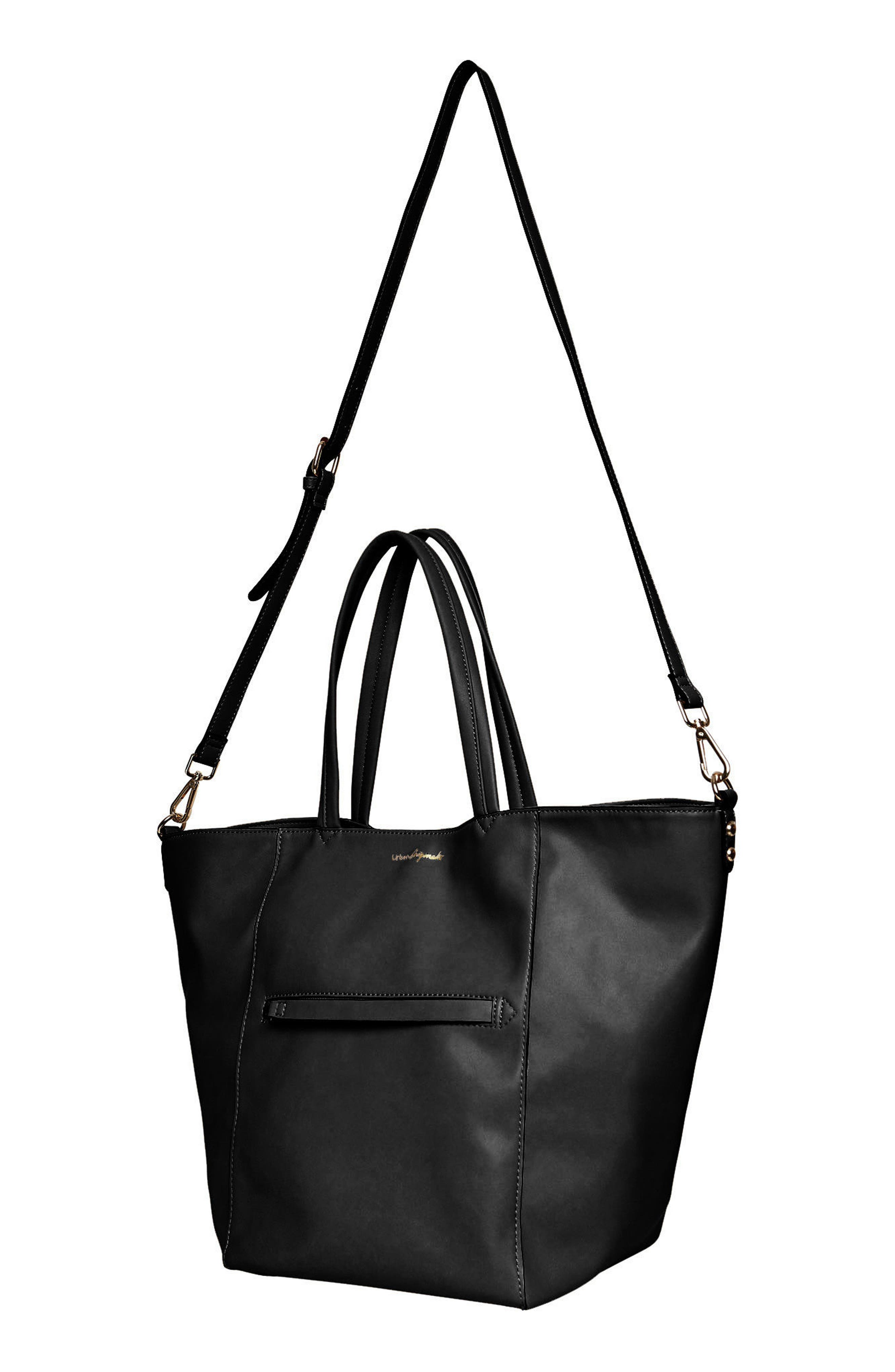 Every Girl Vegan Leather Tote,                             Alternate thumbnail 3, color,                             Black