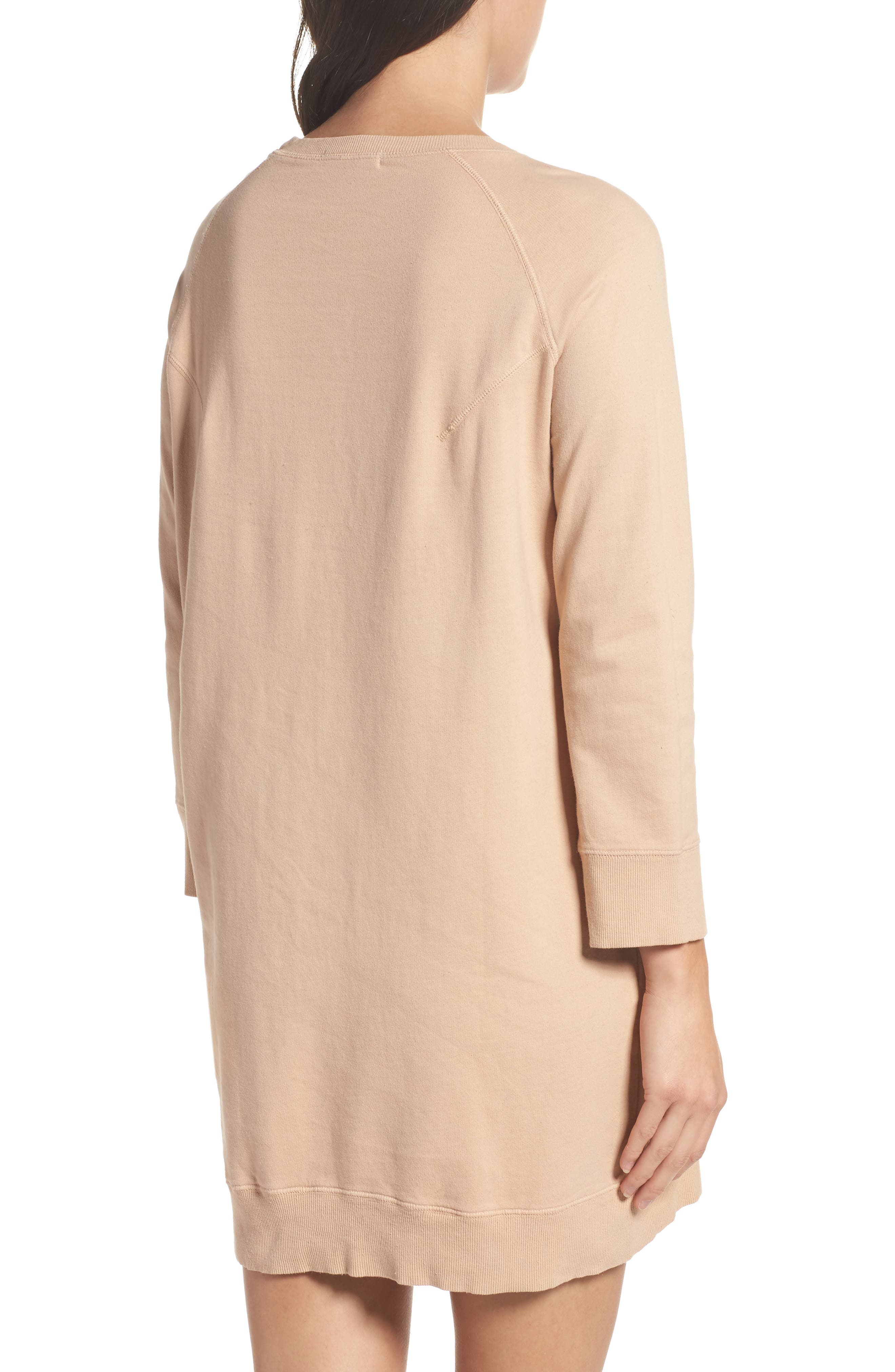 Sweatshirt Dress,                             Alternate thumbnail 2, color,                             Nude