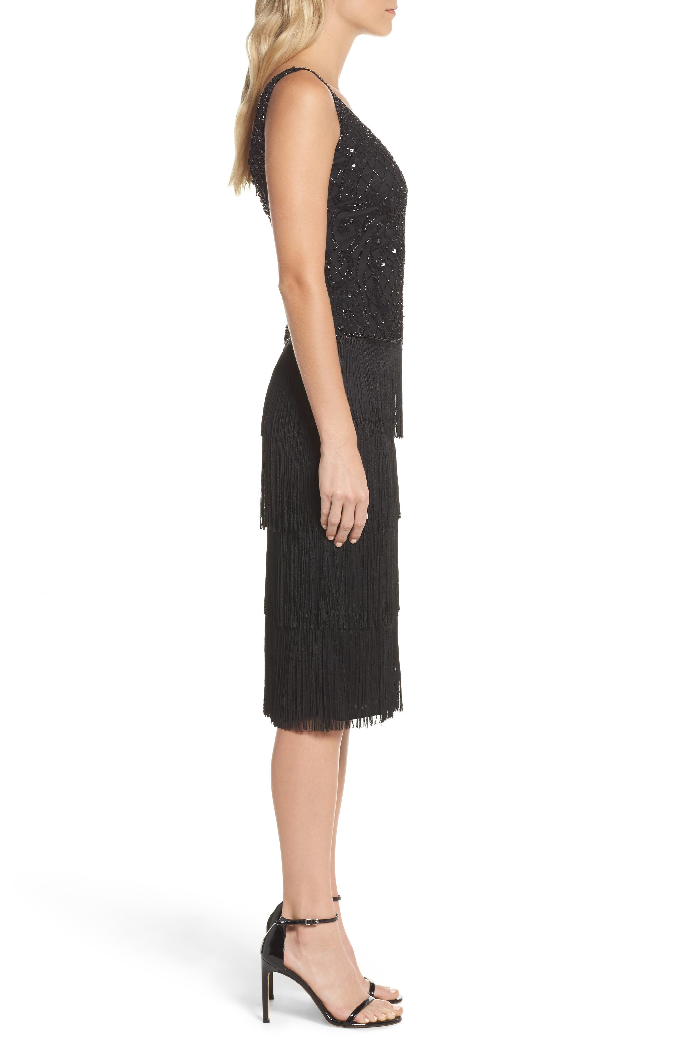 Embellished Fringe Tiered Sheath Dress,                             Alternate thumbnail 3, color,                             Black