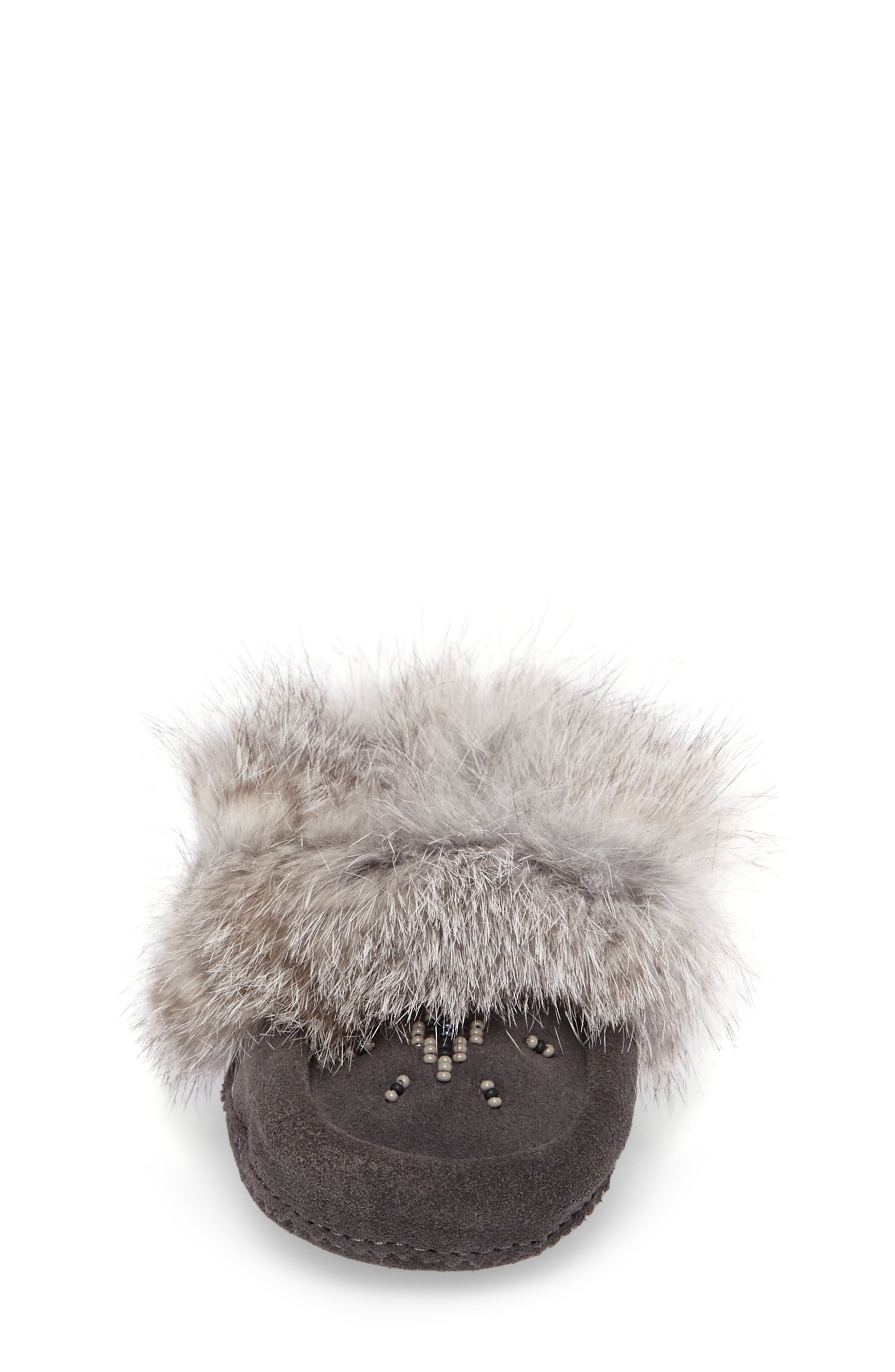 Genuine Rabbit Fur Moccasin,                             Alternate thumbnail 4, color,                             Charcoal