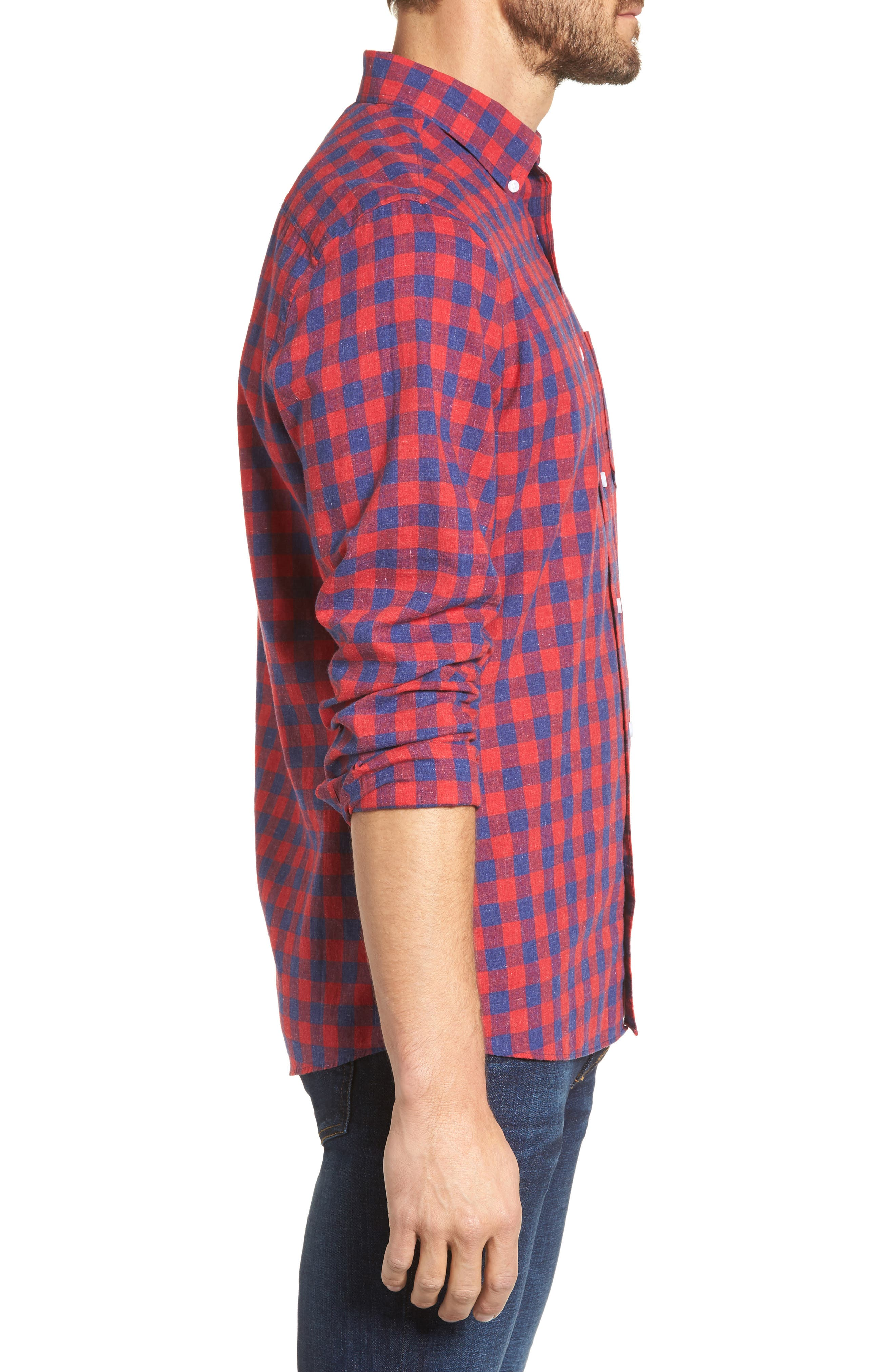 Spade Trim Fit Check Sport Shirt,                             Alternate thumbnail 3, color,                             Red Chili Blue Check