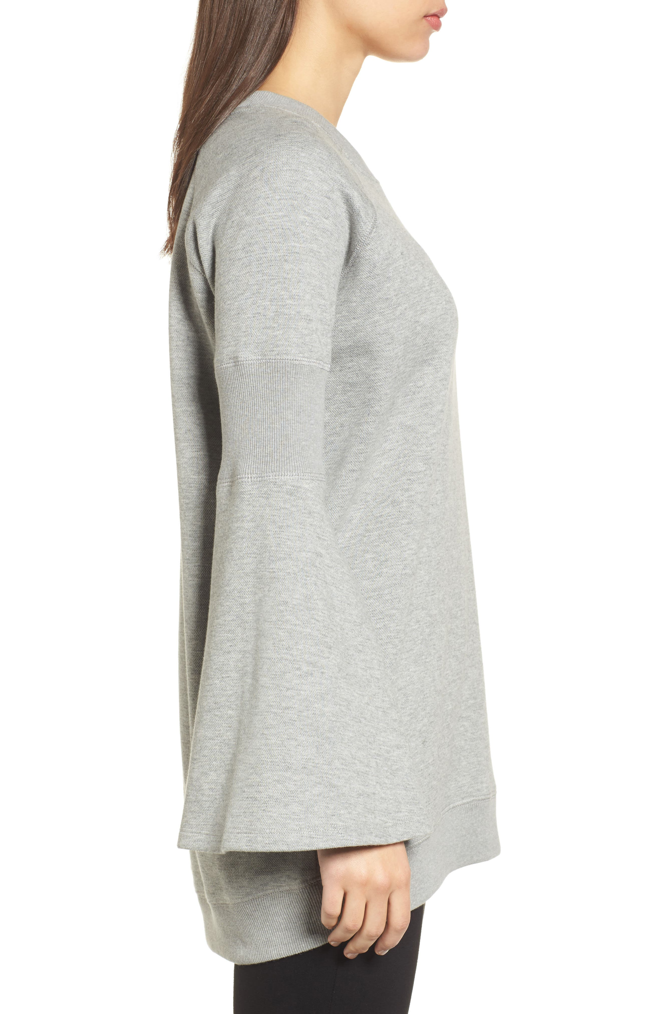 Bell Sleeve Ribbed Sweatshirt,                             Alternate thumbnail 3, color,                             Heather Gray Bros
