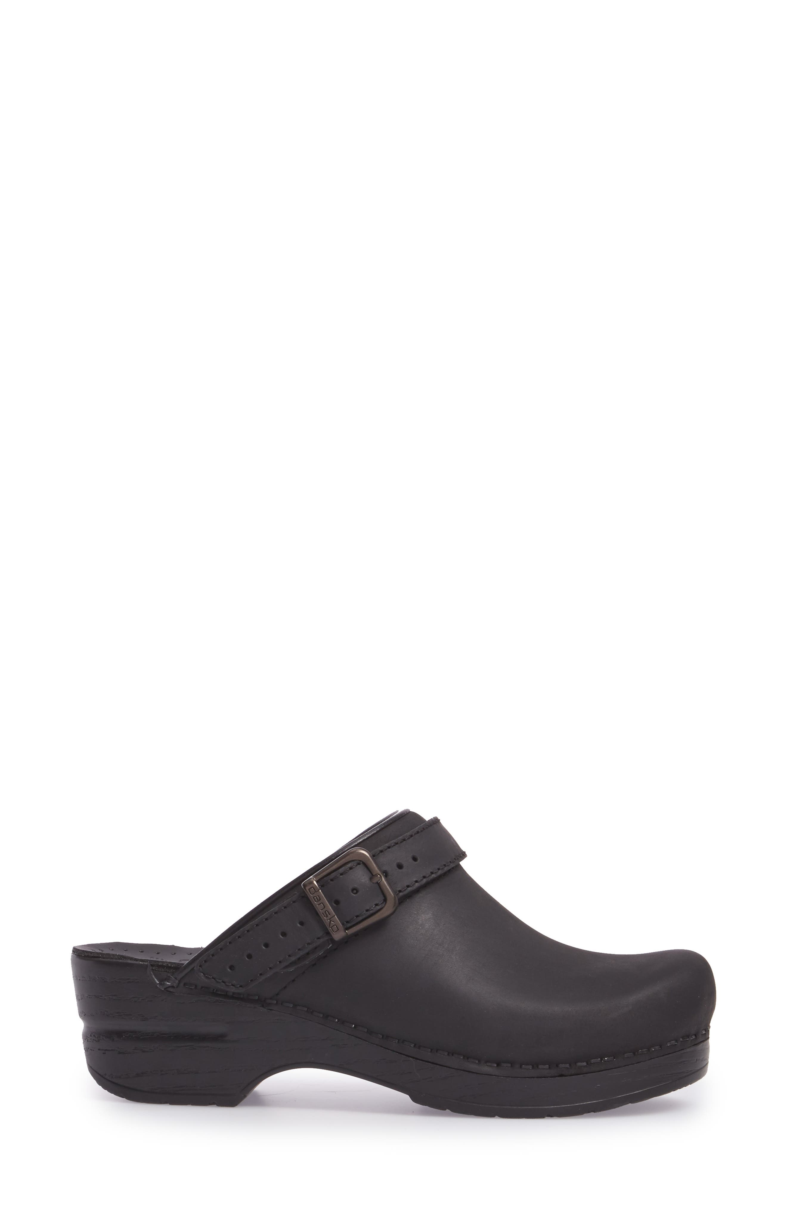 Ingrid Clog,                             Alternate thumbnail 3, color,                             Black Oiled Leather