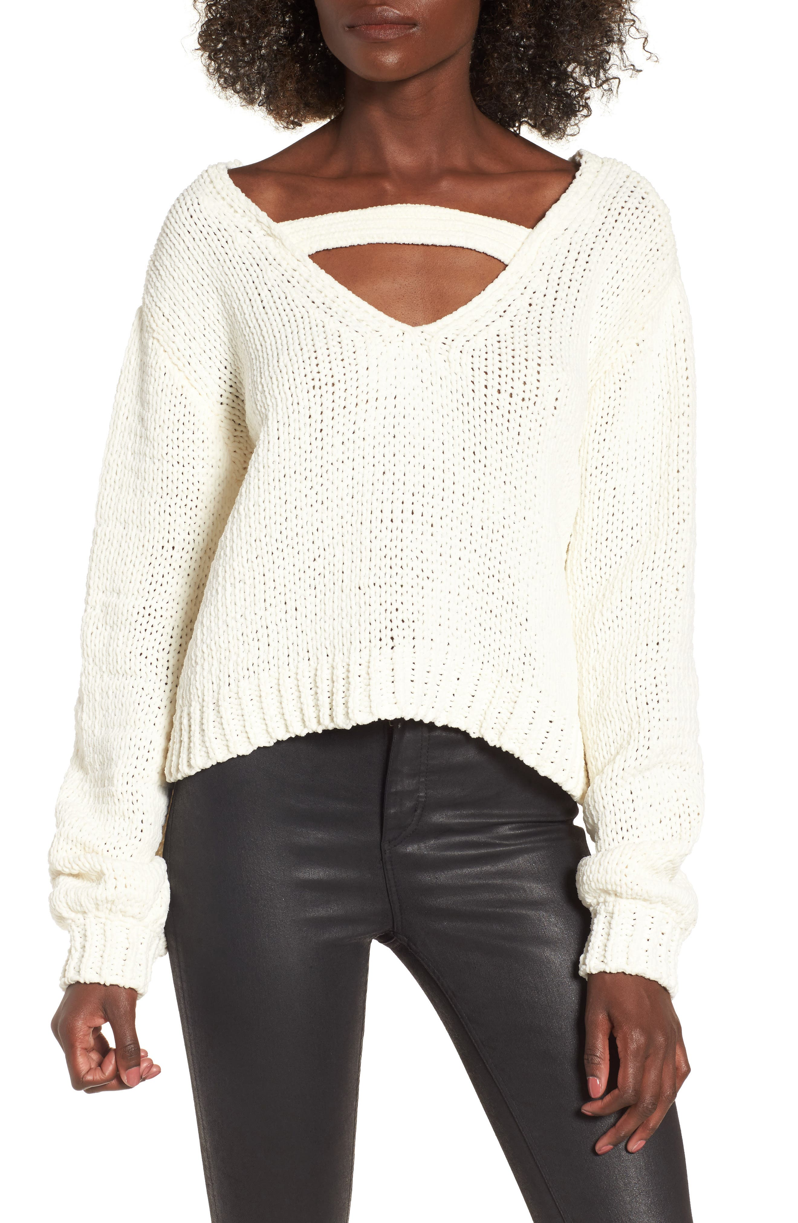 Strappy Sweater,                             Alternate thumbnail 2, color,                             Ivory