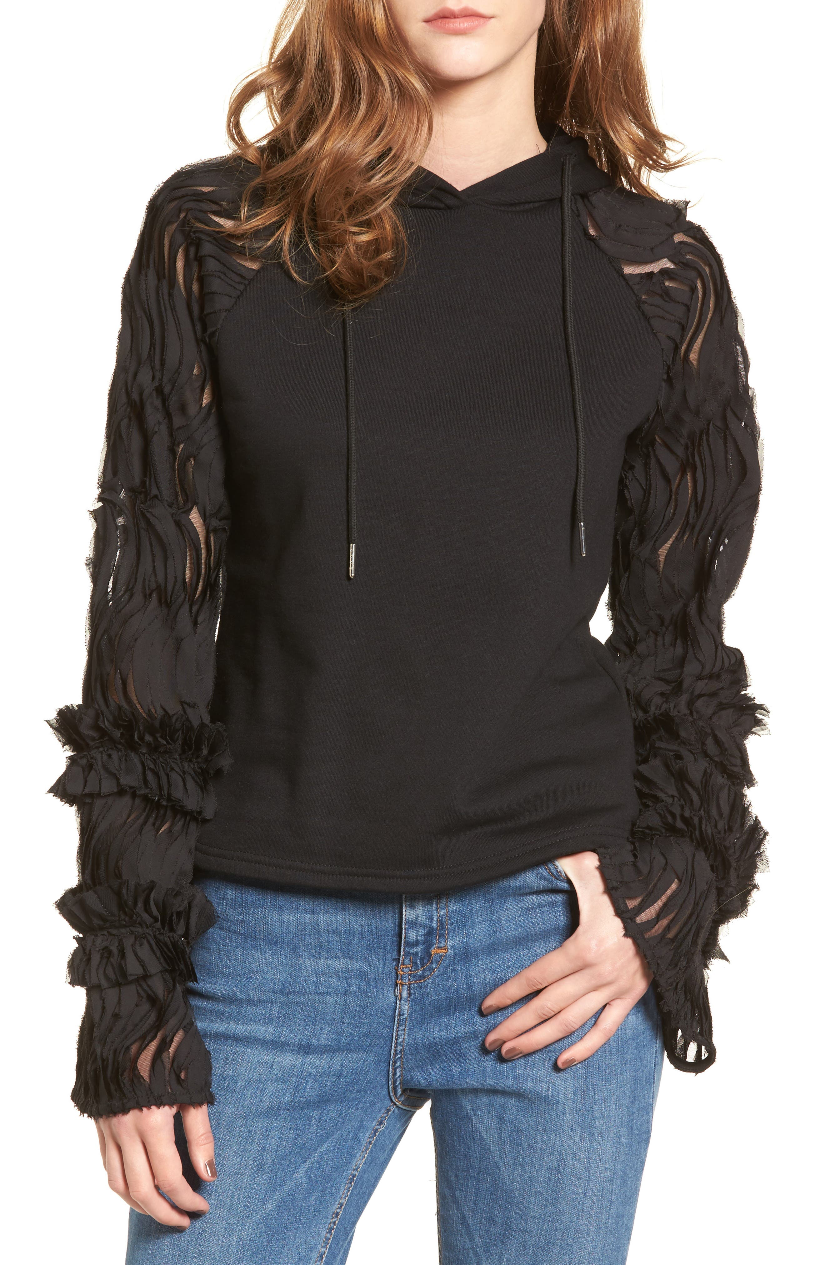 Ruffle Chiffon Hoodie,                         Main,                         color, Black