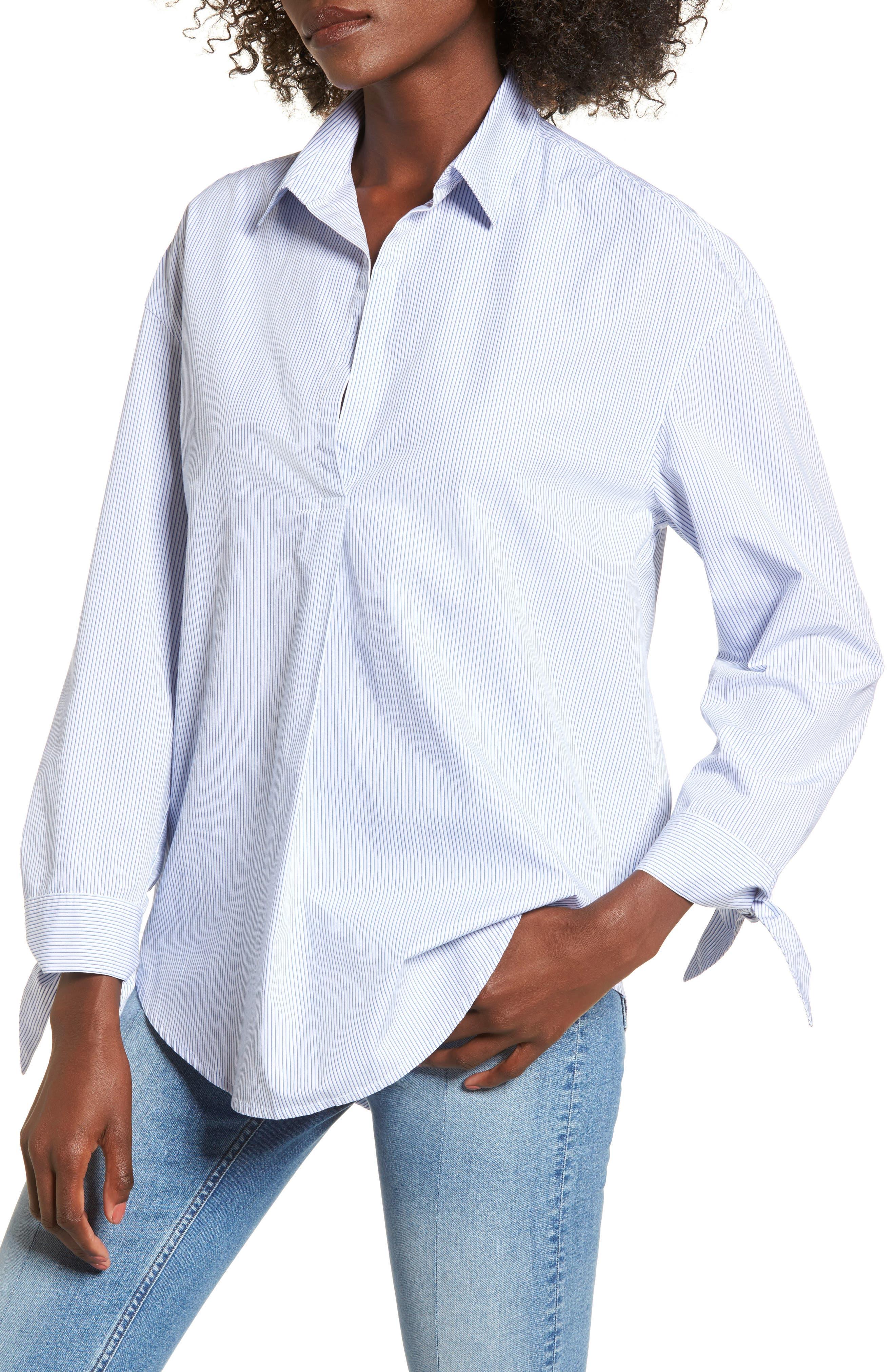 Main Image - BP. Tie Sleeve Tunic Shirt