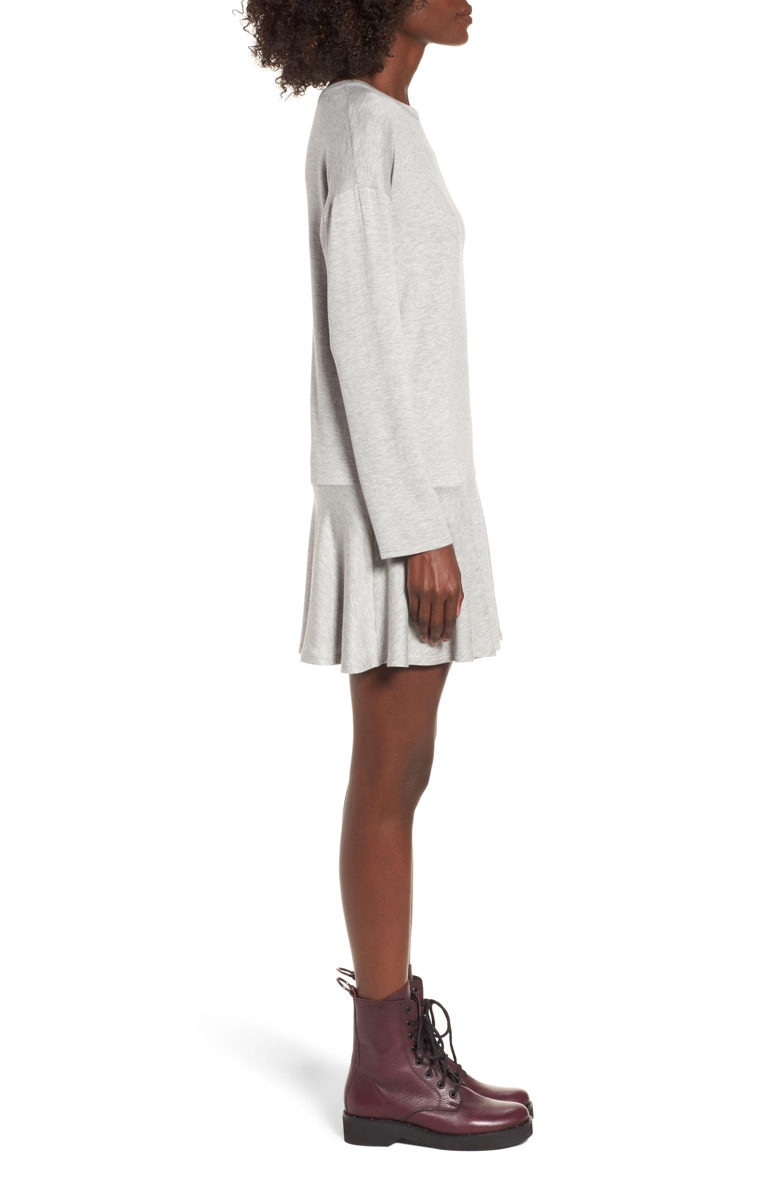 Drop Waist Sweatshirt Dress,                             Alternate thumbnail 3, color,                             Heather Grey