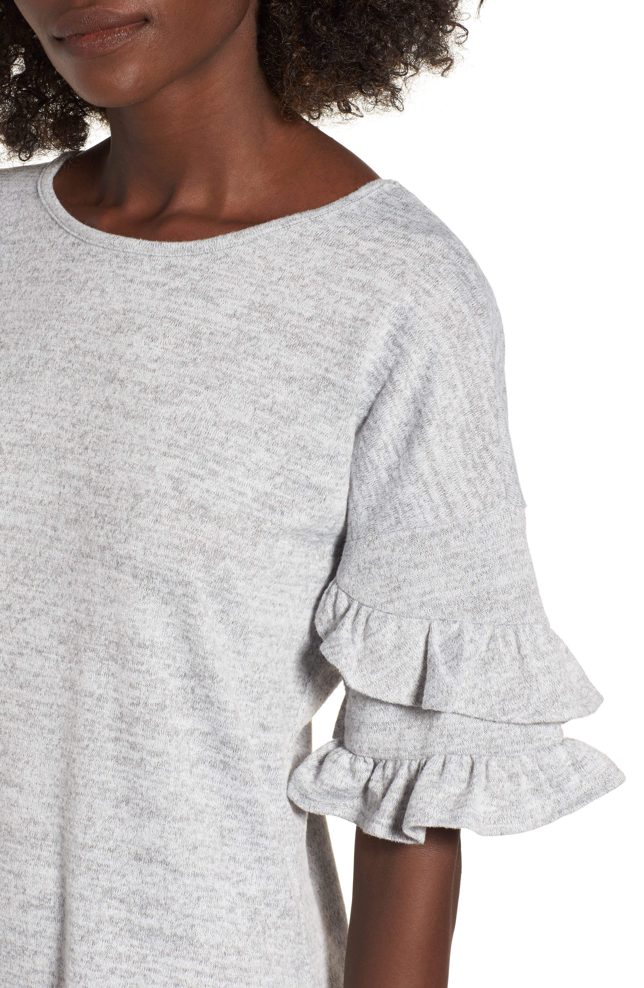 Ruffle Sleeve Sweatshirt Dress,                             Alternate thumbnail 4, color,                             Heather Grey
