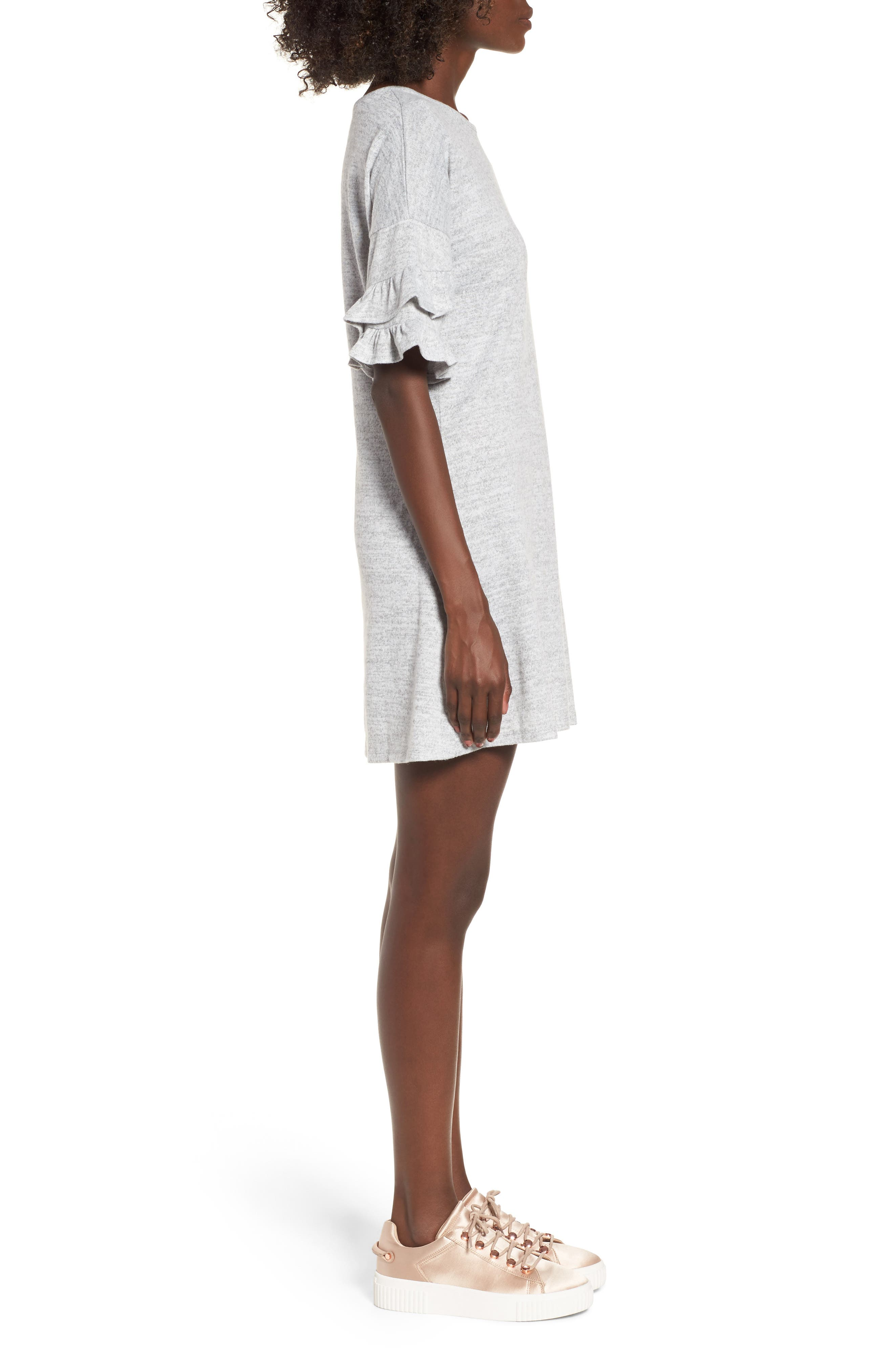 Ruffle Sleeve Sweatshirt Dress,                             Alternate thumbnail 3, color,                             Heather Grey