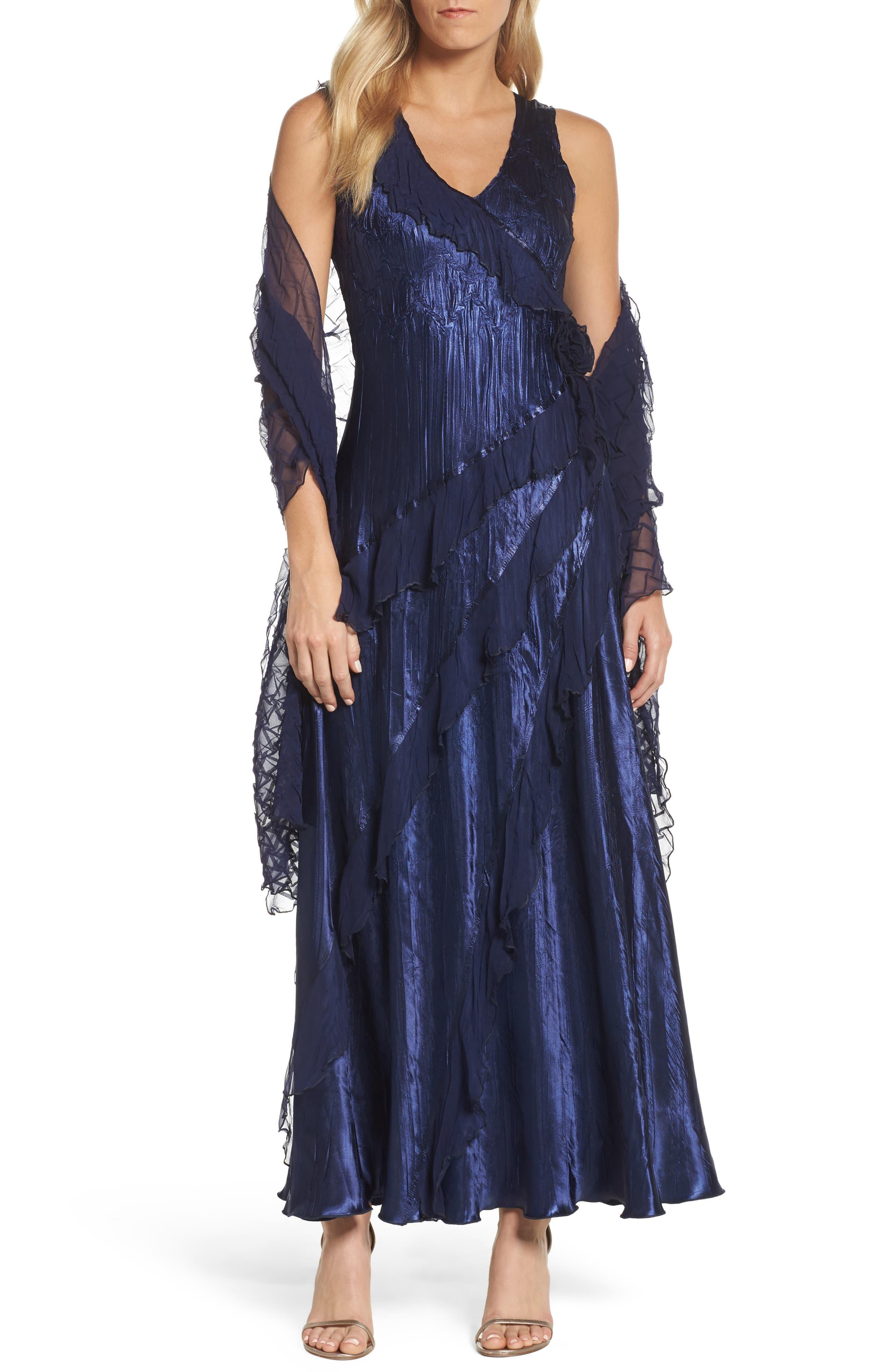 Alternate Image 1 Selected - Komarov Ruffle Maxi Dress with Wrap