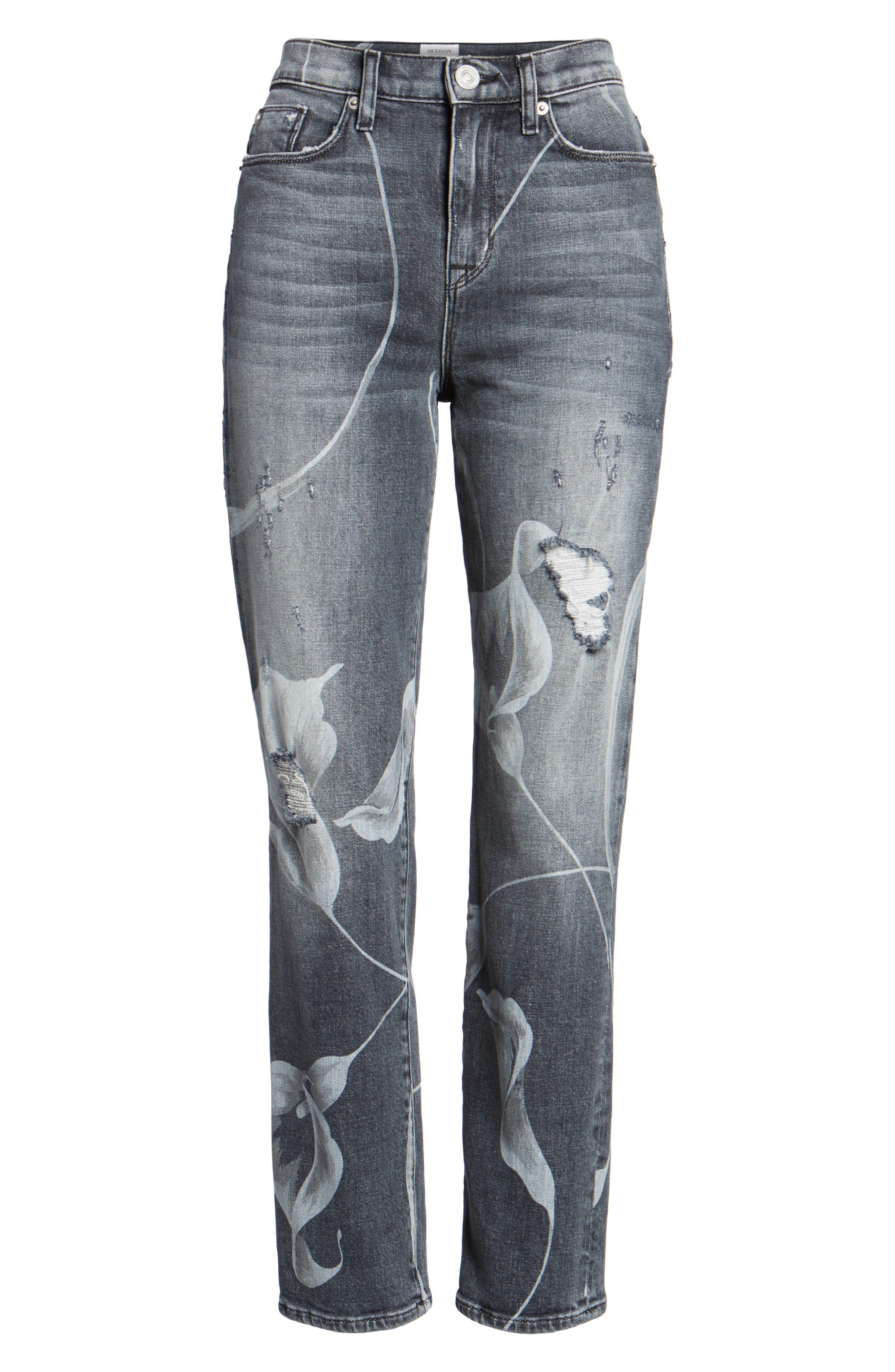 Zoeey High Waist Crop Straight Leg Jeans,                             Alternate thumbnail 6, color,                             Noir In Bloom