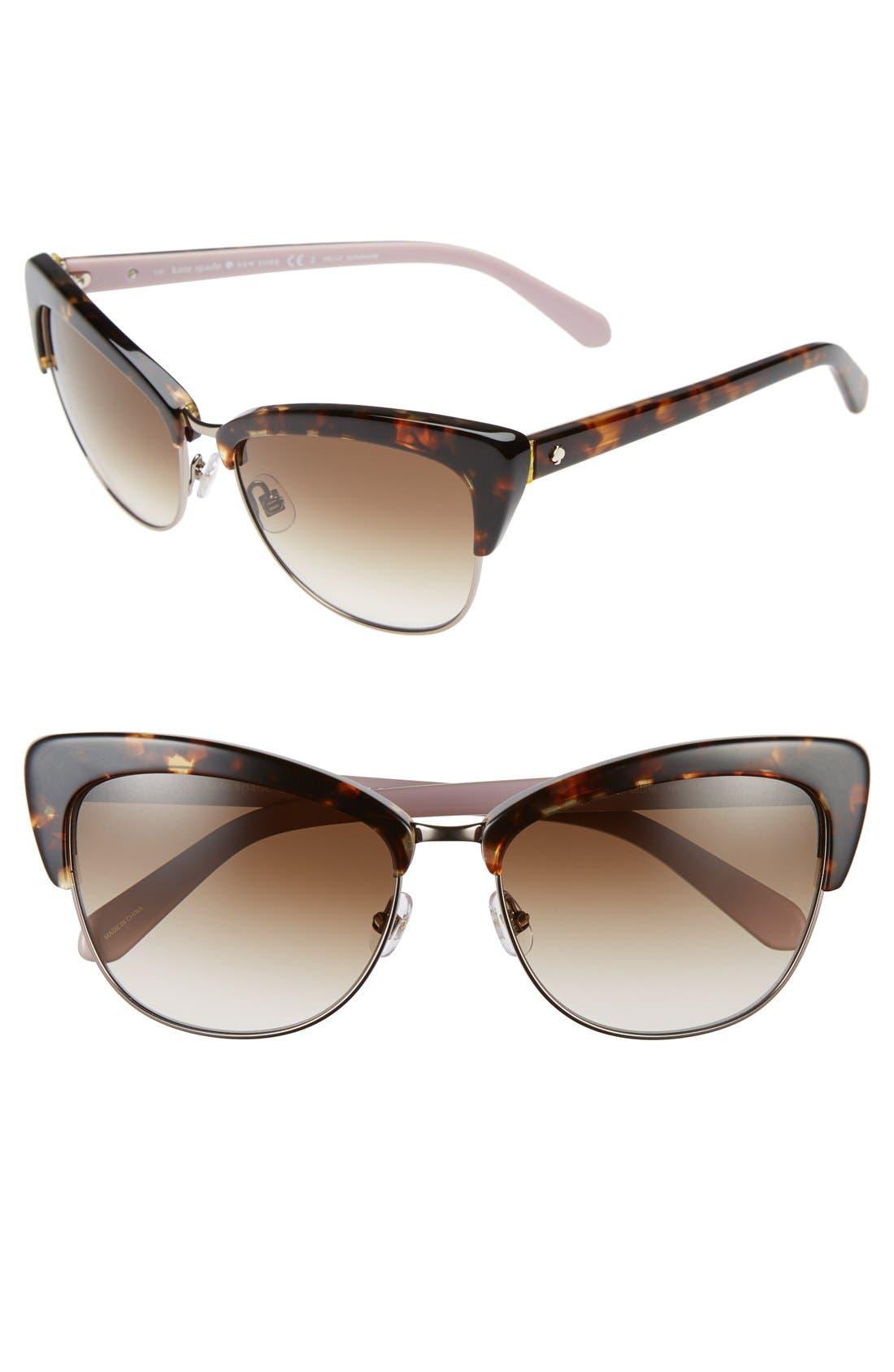 'genette' 56mm cat eye sunglasses,                             Main thumbnail 1, color,                             Tortoise/ Pink