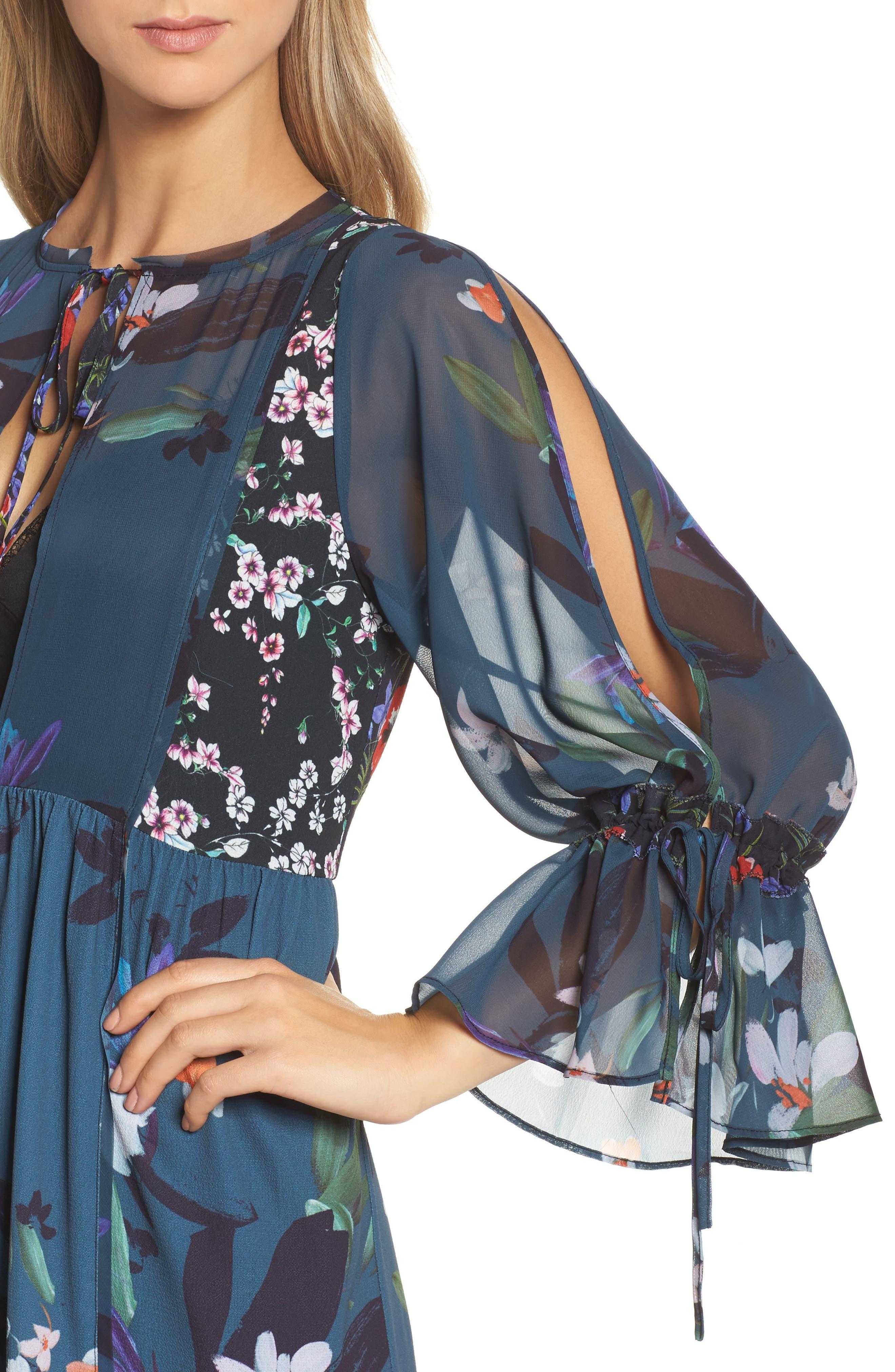 Celia Midi Dress,                             Alternate thumbnail 4, color,                             Deep Teal Multi