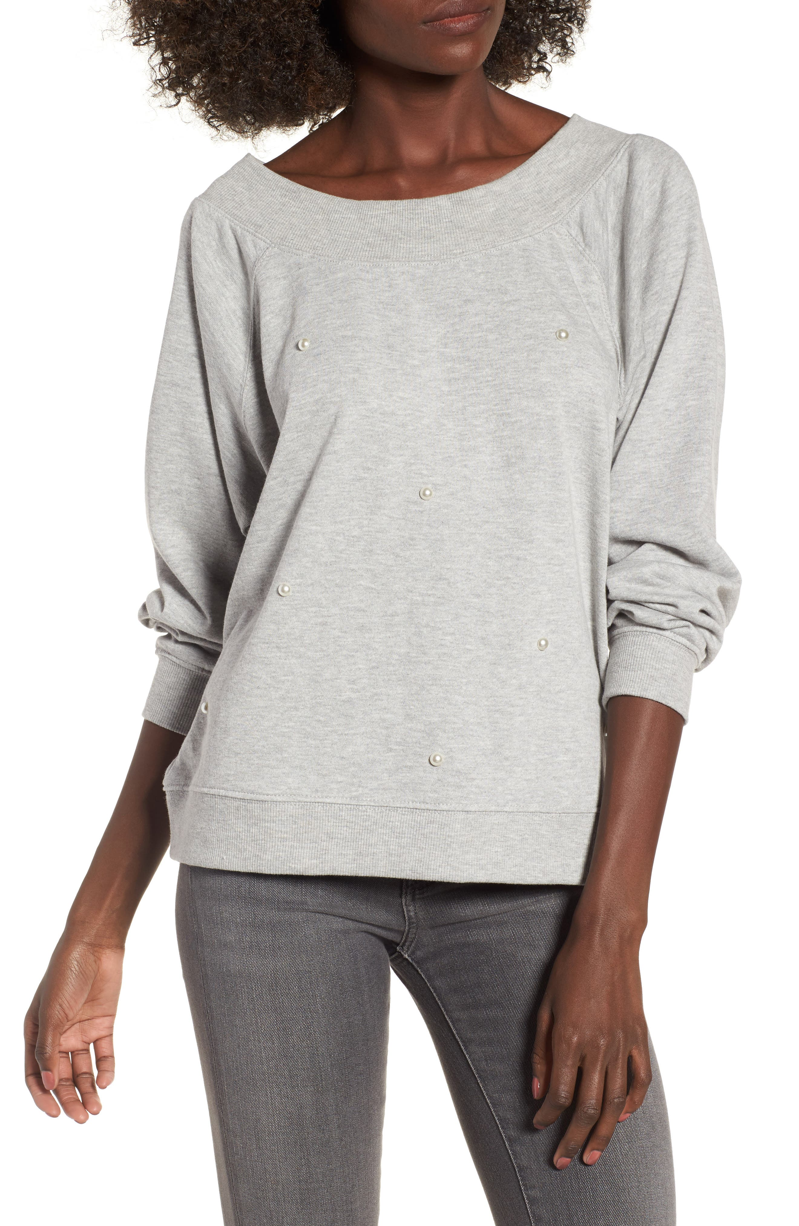 Embellished Off the Shoulder Sweatshirt,                         Main,                         color, Heather Grey