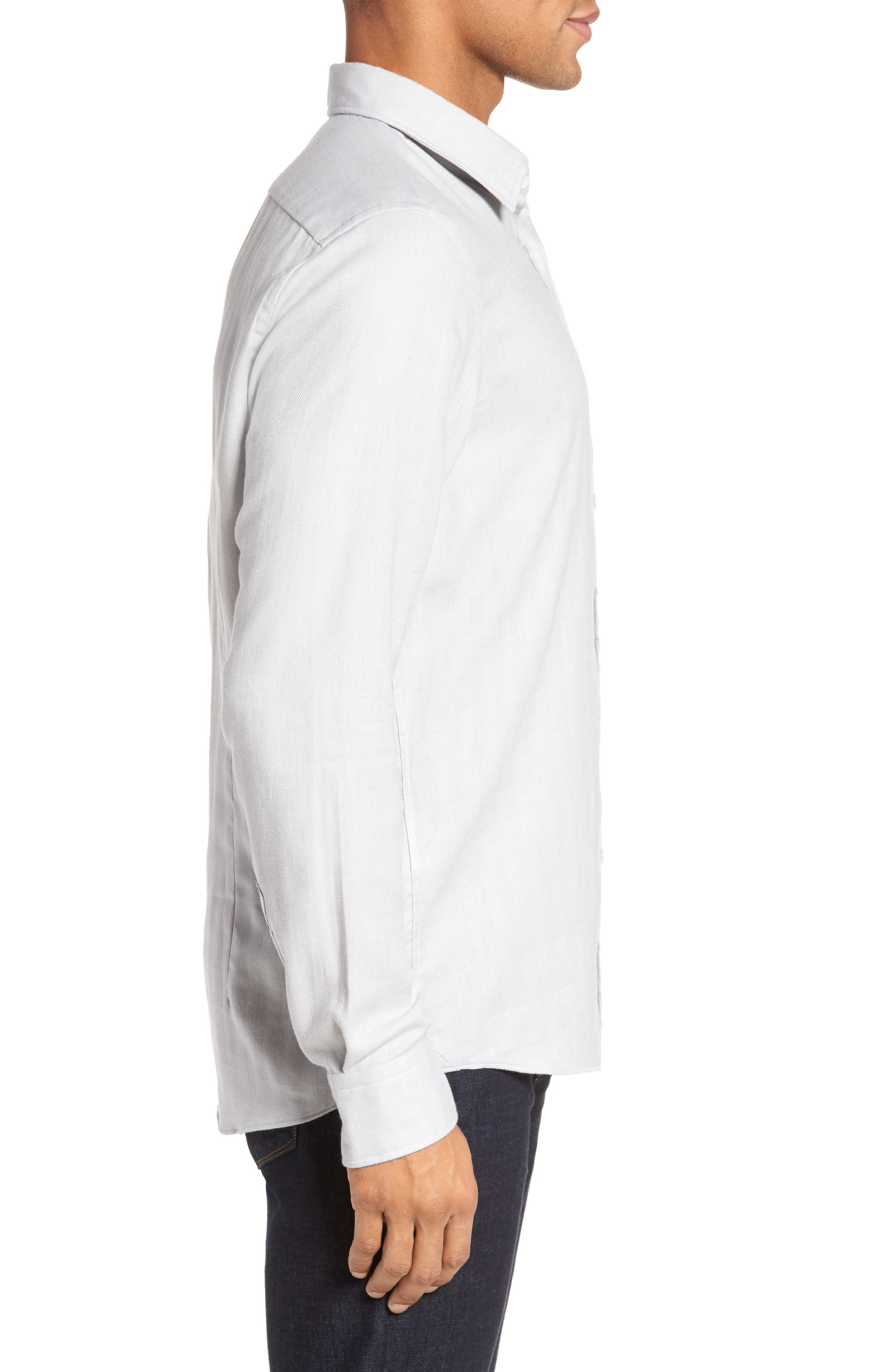 Landon Herringbone Shirt,                             Alternate thumbnail 3, color,                             Grey